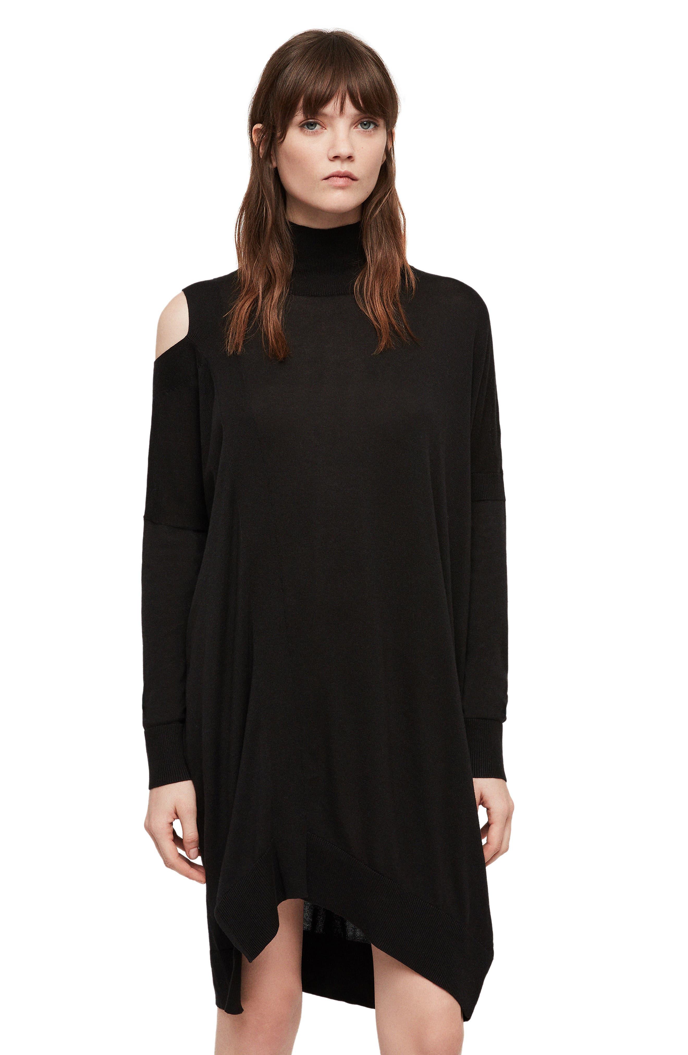ALLSAINTS, Cecily Turtleneck Sweater Dress, Alternate thumbnail 5, color, BLACK
