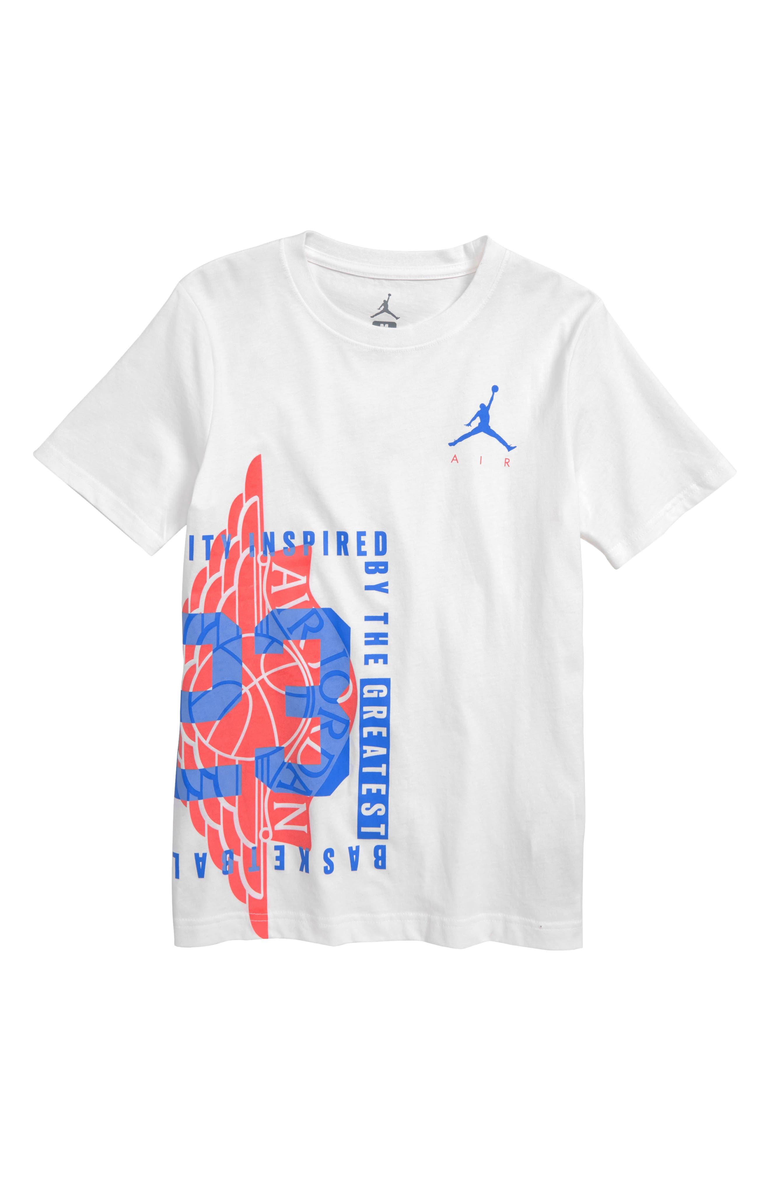 JORDAN, Wings Spin Graphic T-Shirt, Main thumbnail 1, color, WHITE