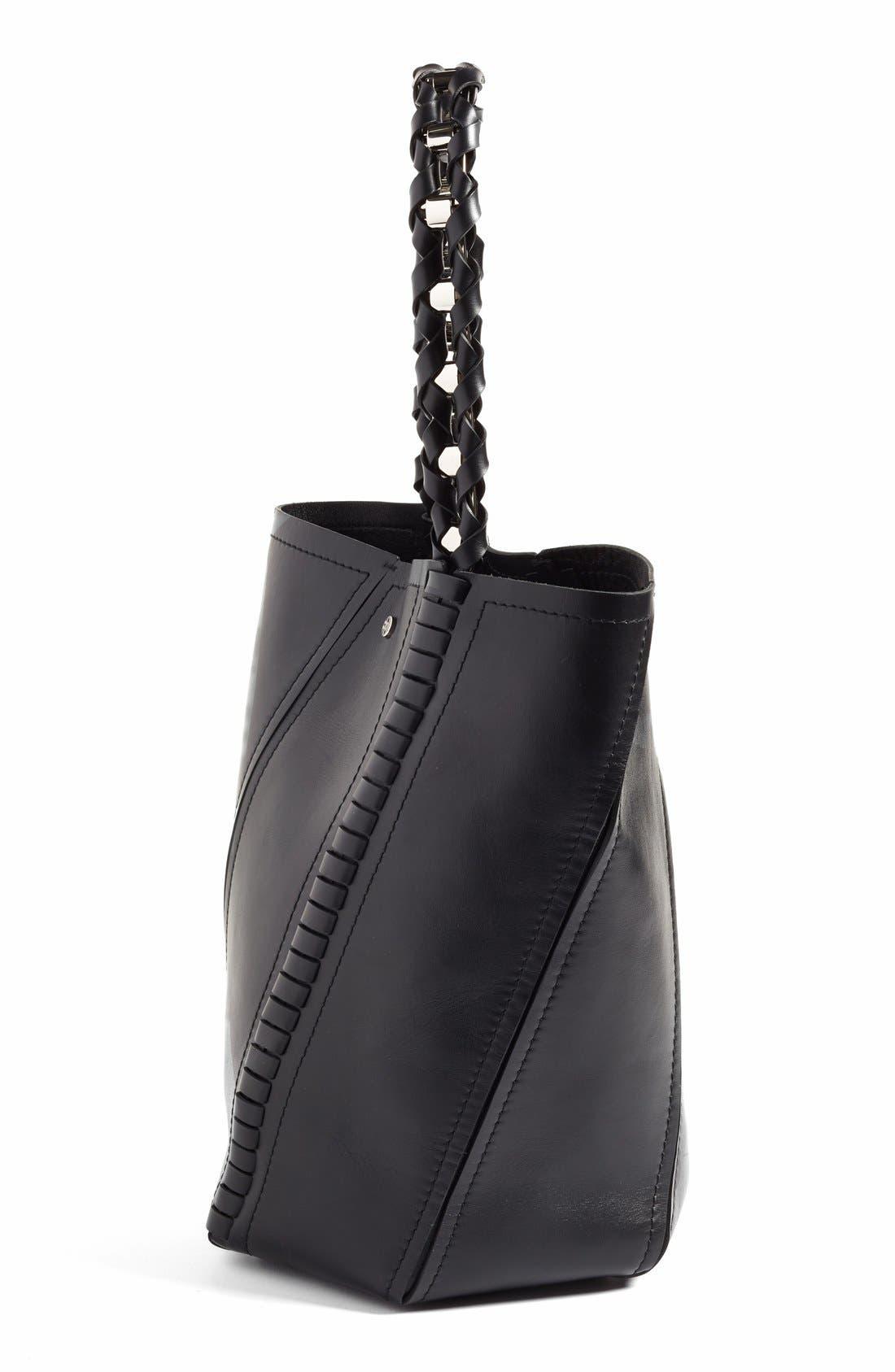 PROENZA SCHOULER, 'Medium Hex' Whipstitch Leather Bucket Bag, Alternate thumbnail 5, color, BLACK