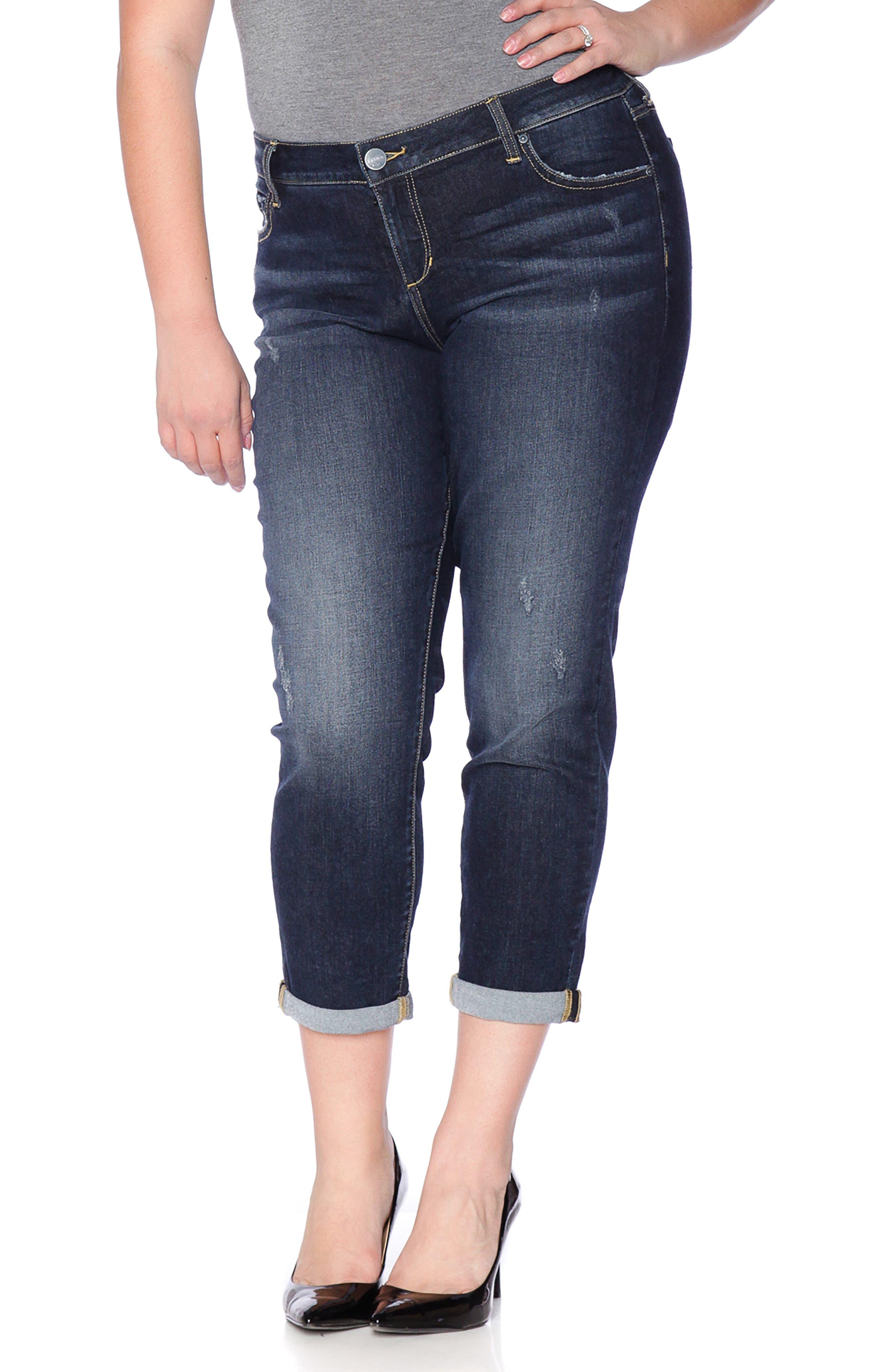 SLINK JEANS, Stretch Ankle Boyfriend Jeans, Alternate thumbnail 8, color, BELLA