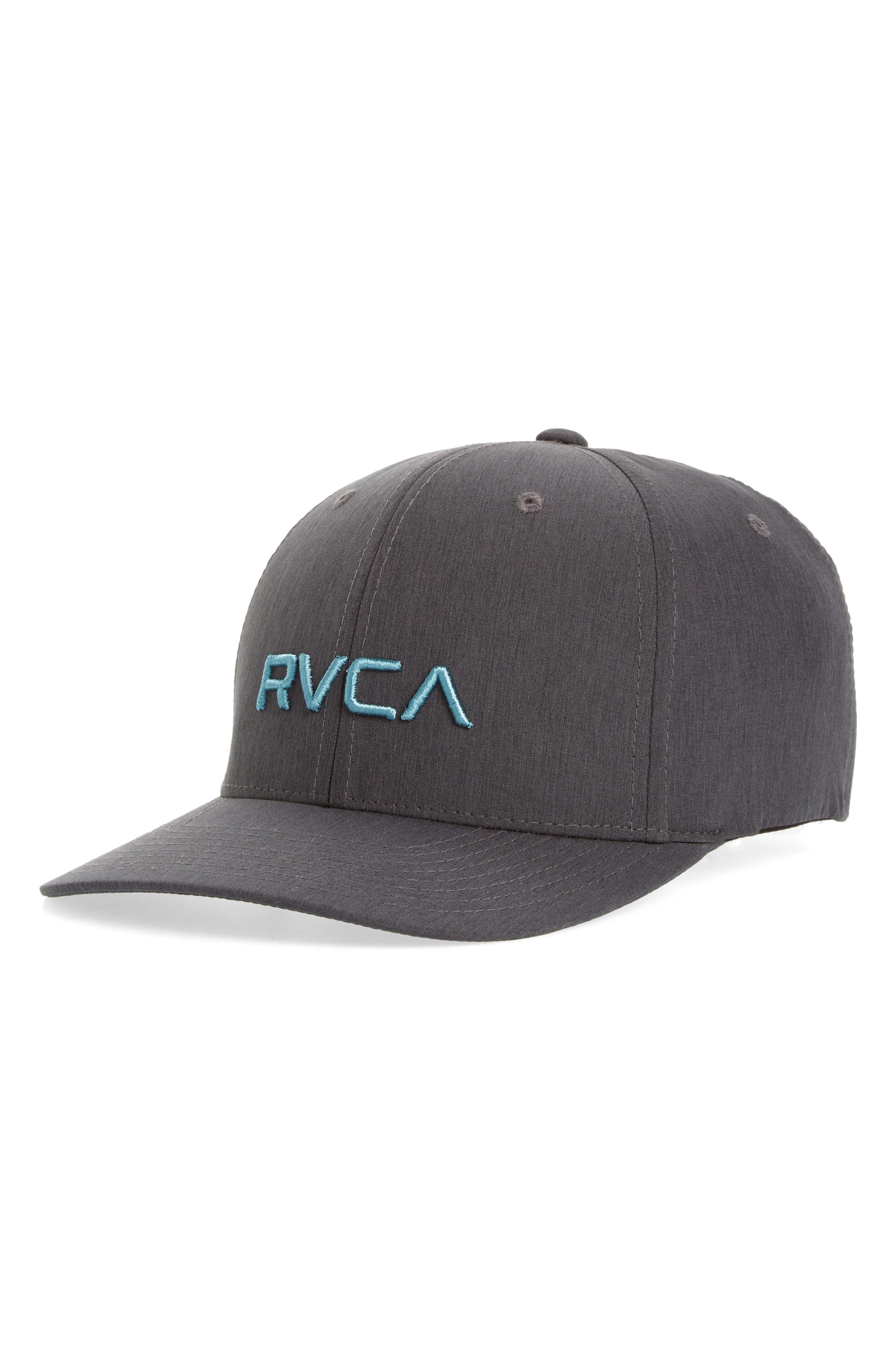 RVCA Flex Fit Baseball Cap, Main, color, CHARCOAL HEATHER