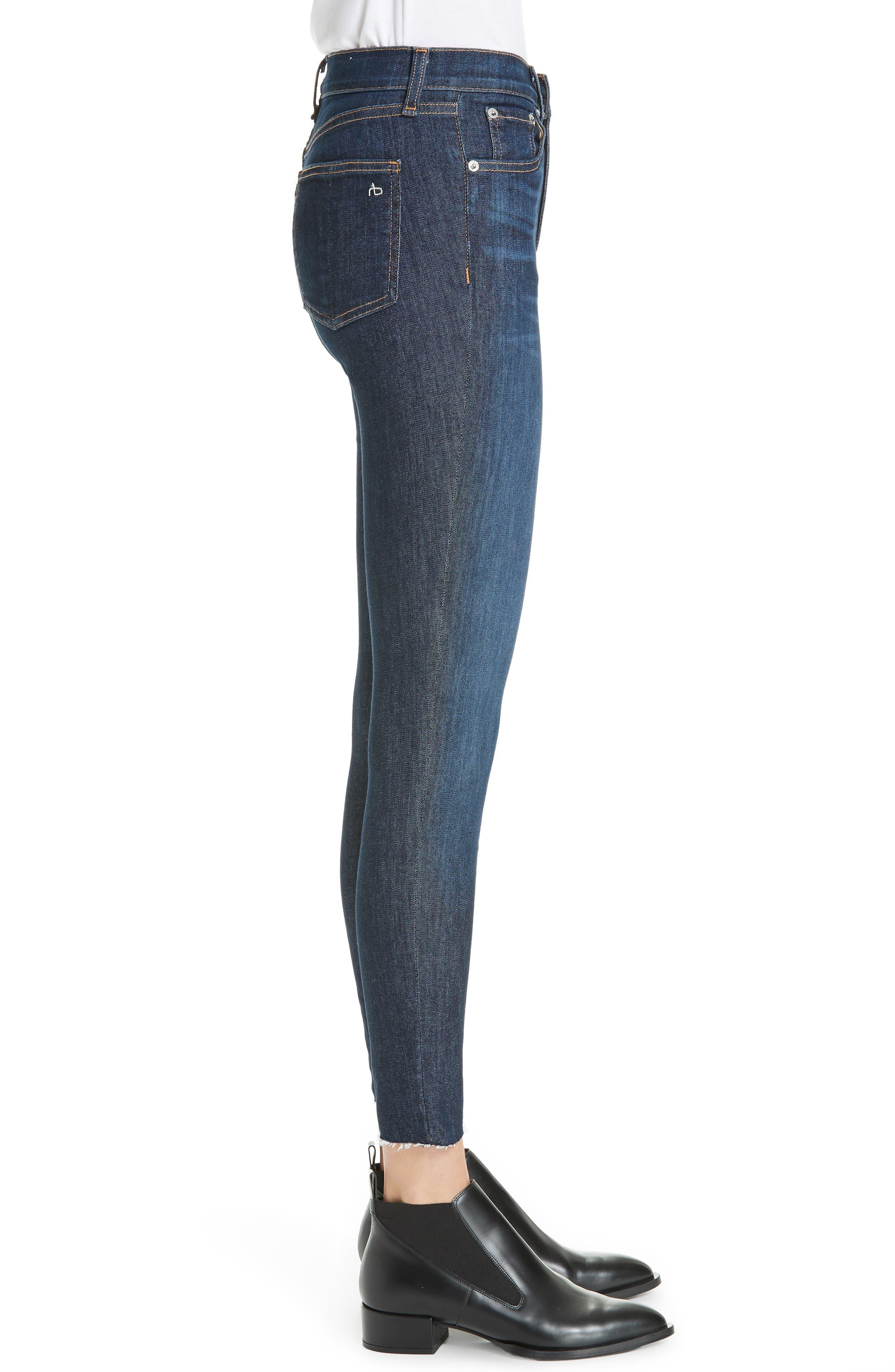RAG & BONE, High Waist Skinny Ankle Jeans, Alternate thumbnail 4, color, 402
