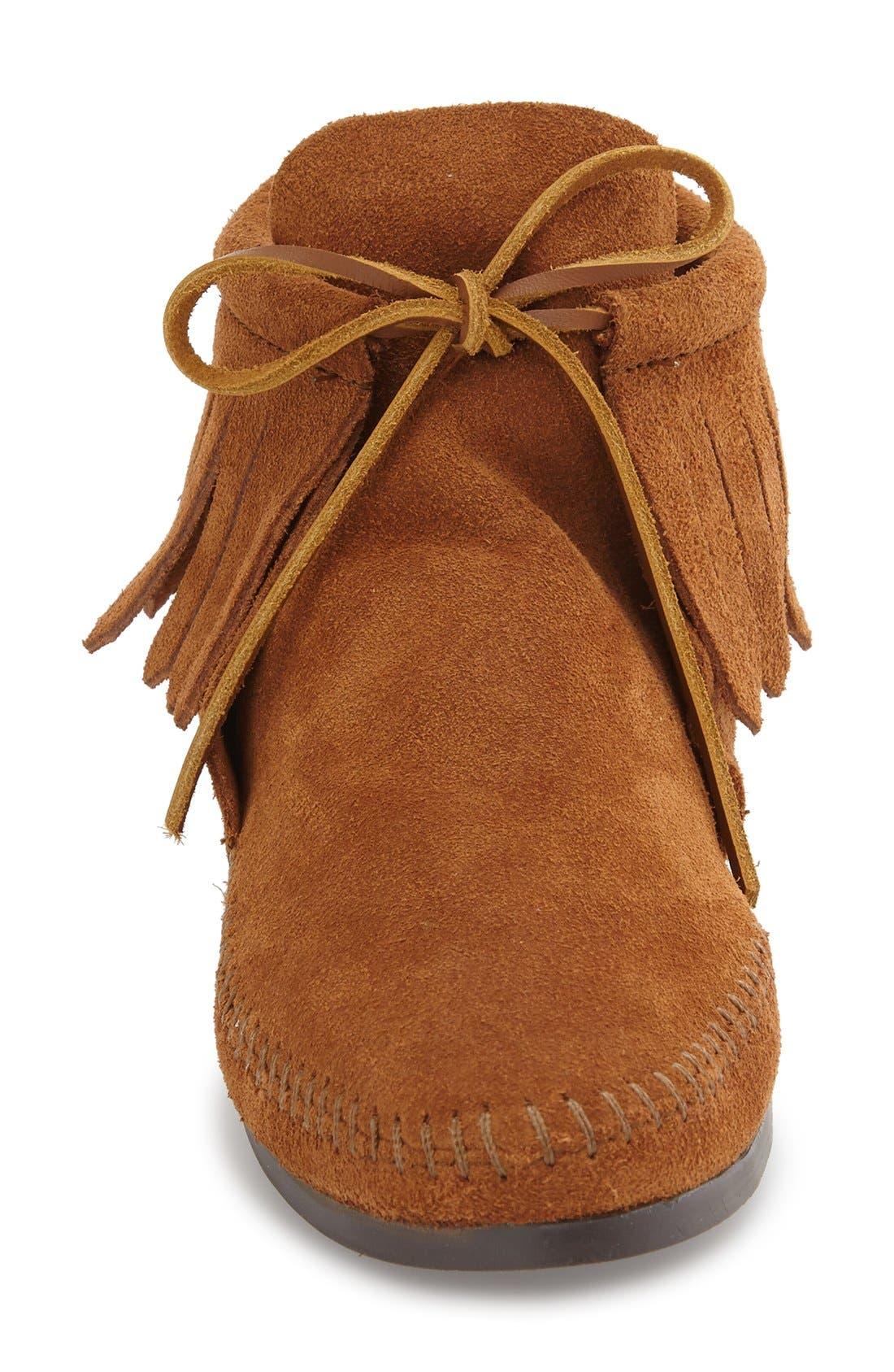 MINNETONKA, Classic Fringed Chukka Style Boot, Alternate thumbnail 3, color, BROWN