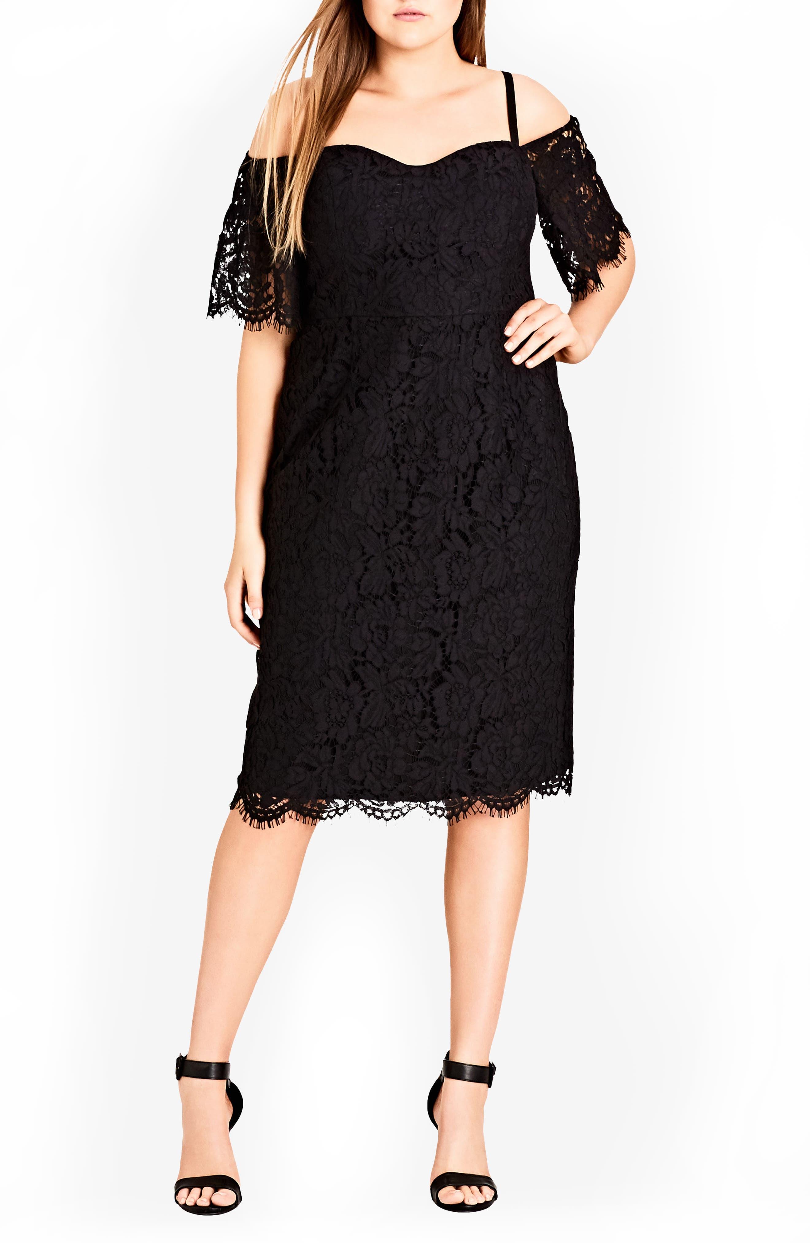 CITY CHIC Lace Whisper Dress, Main, color, BLACK