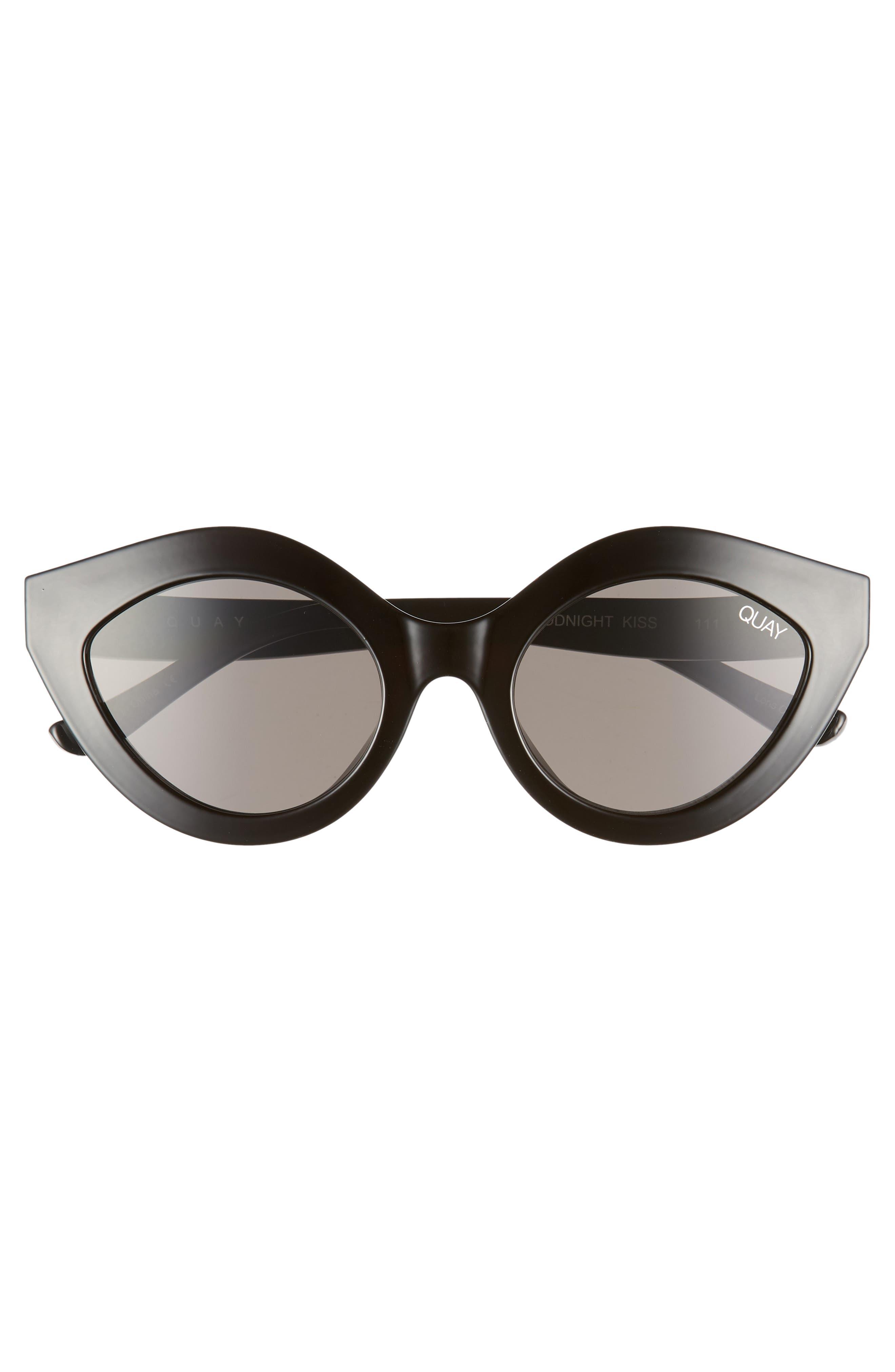 QUAY AUSTRALIA, Goodnight Kiss Cat Eye Sunglasses, Alternate thumbnail 3, color, BLACK / SMOKE