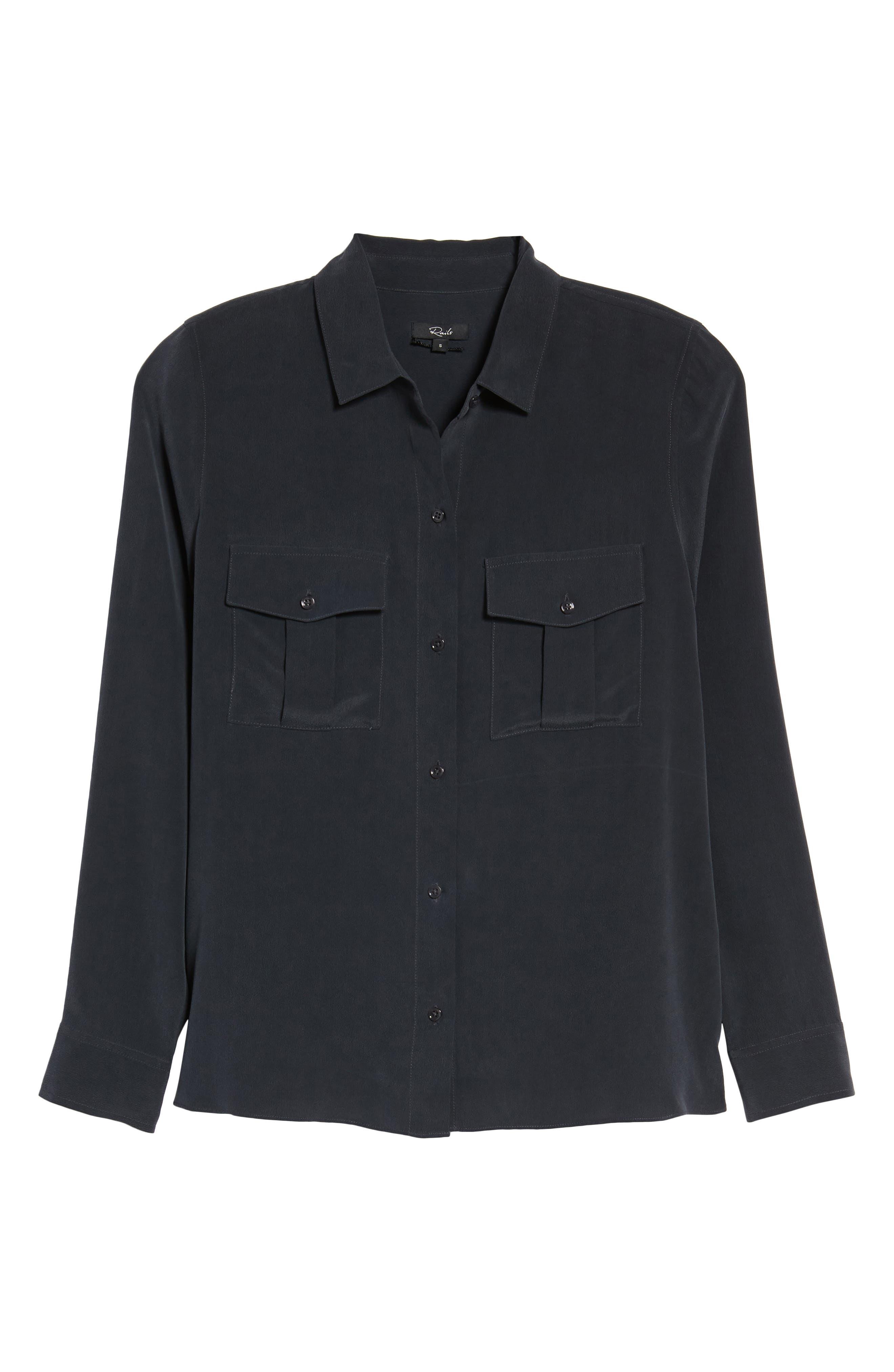 RAILS, Rhett Silk Shirt, Alternate thumbnail 6, color, 021