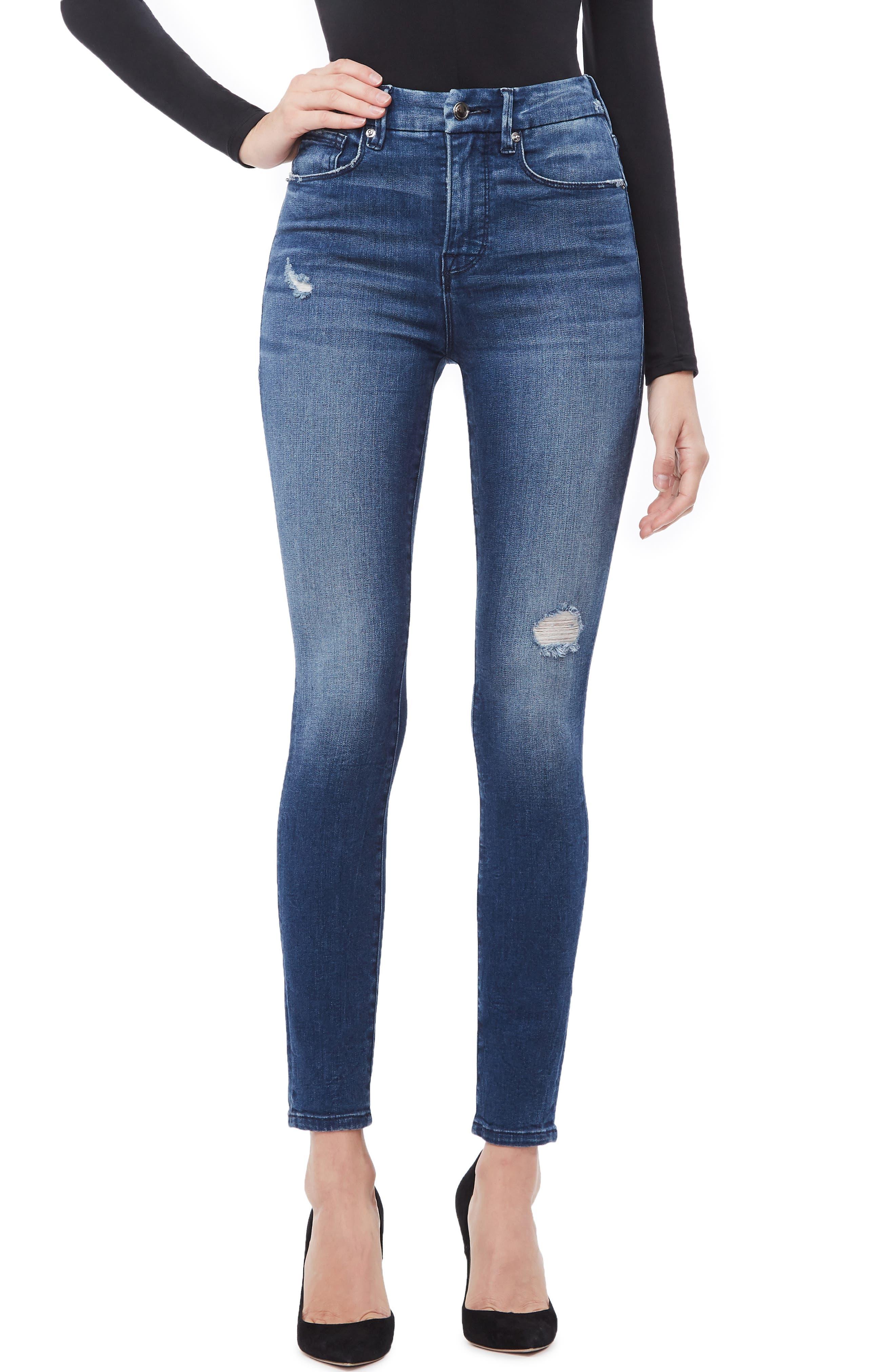 GOOD AMERICAN, Good Waist High Waist Skinny Jeans, Main thumbnail 1, color, BLUE249