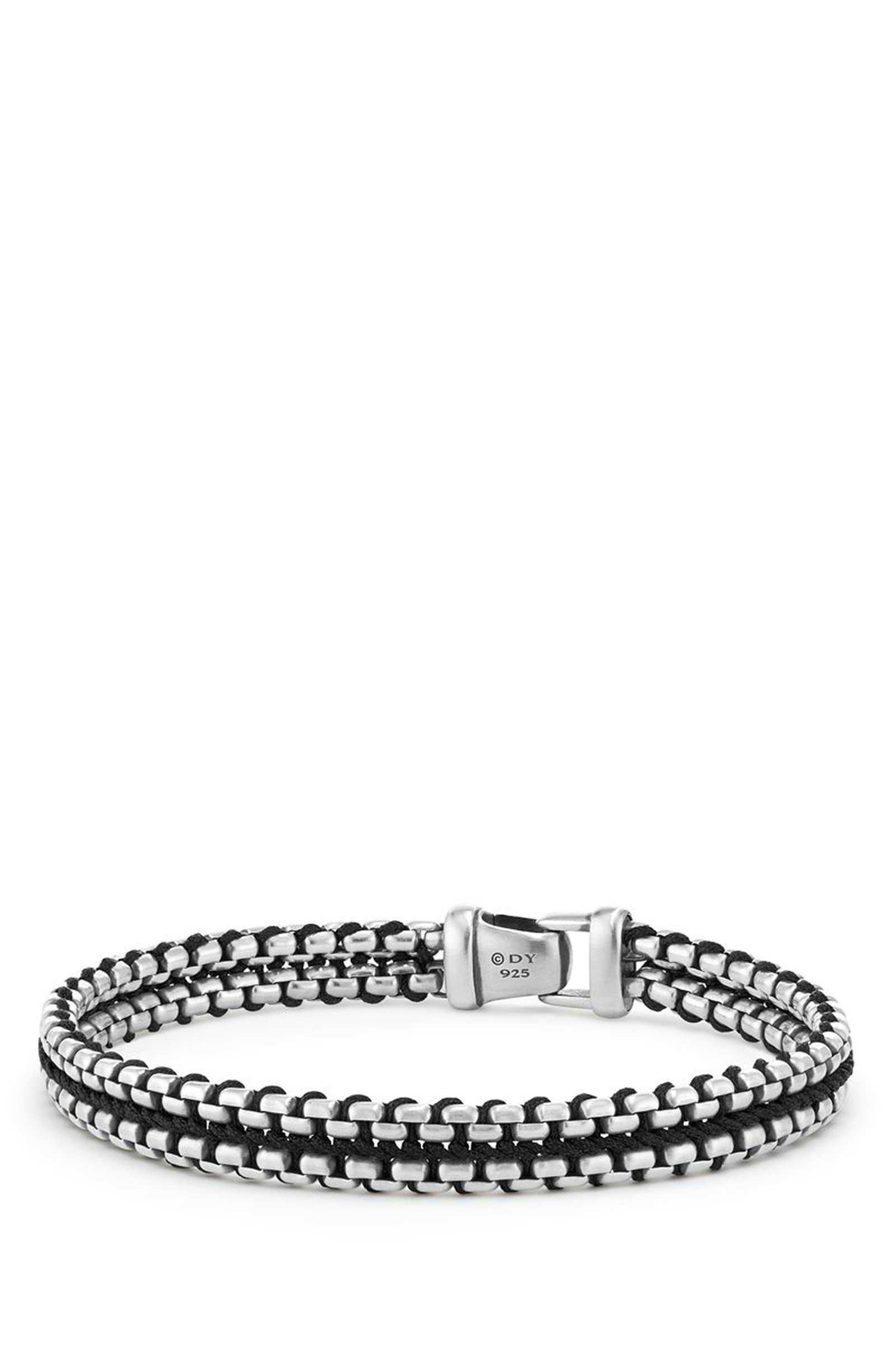 DAVID YURMAN Woven Box Chain Bracelet, Main, color, BLACK