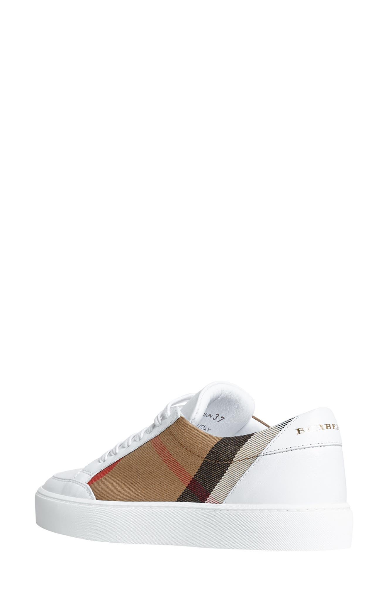 BURBERRY, Salmond Sneaker, Alternate thumbnail 2, color, WHITE