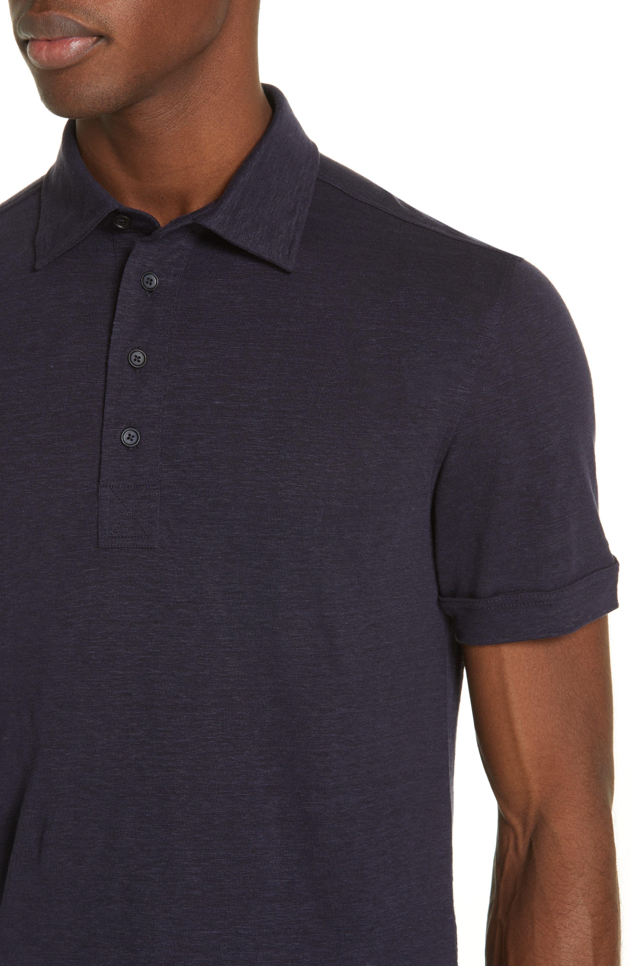 ERMENEGILDO ZEGNA, Ermenegilda Zegna Linen Polo Shirt, Alternate thumbnail 4, color, NAVY