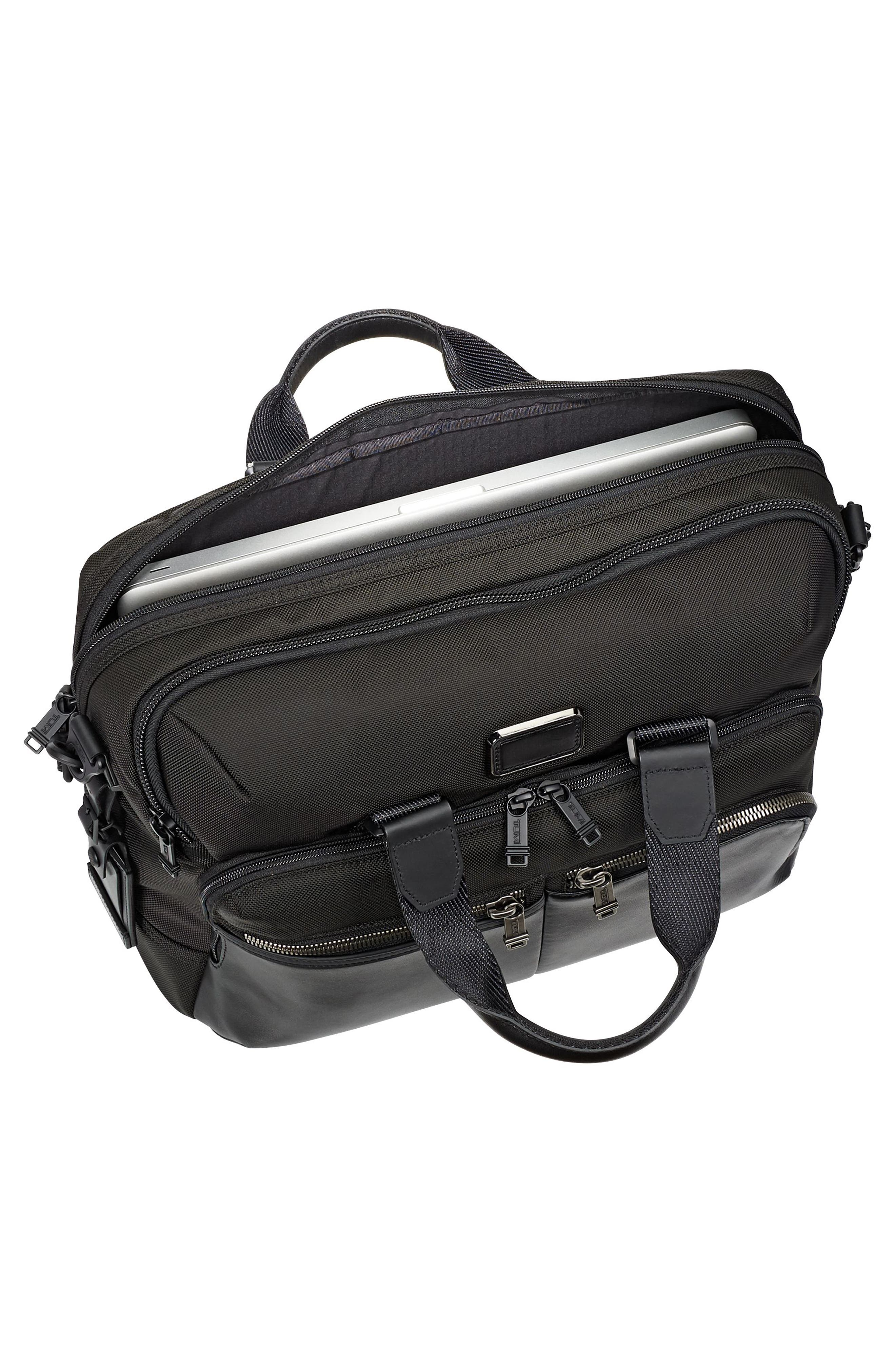 TUMI, Alpha Bravo - Patterson Briefcase, Alternate thumbnail 5, color, BLACK