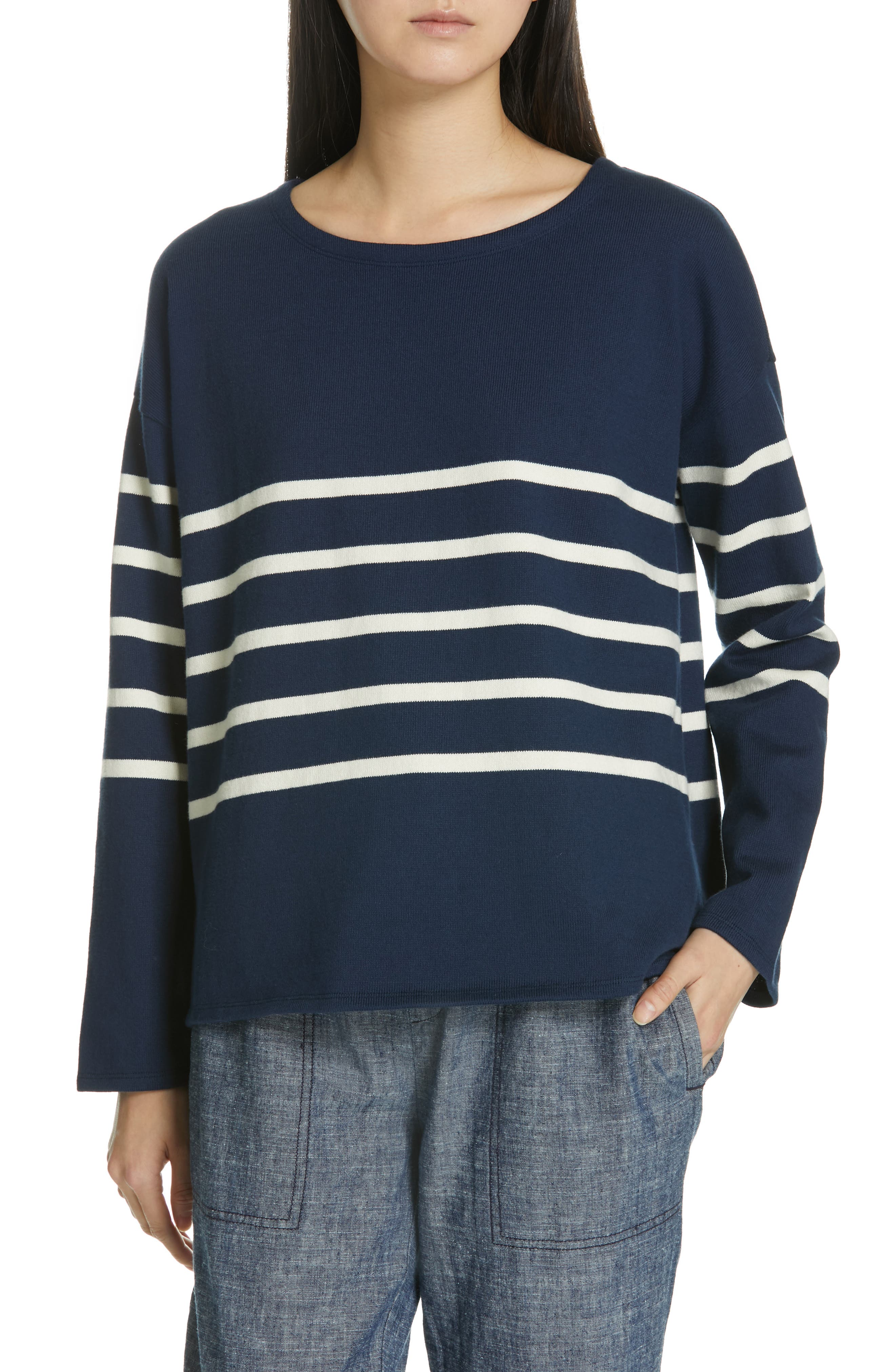 EILEEN FISHER Stripe Organic Cotton Sweater, Main, color, DENIM