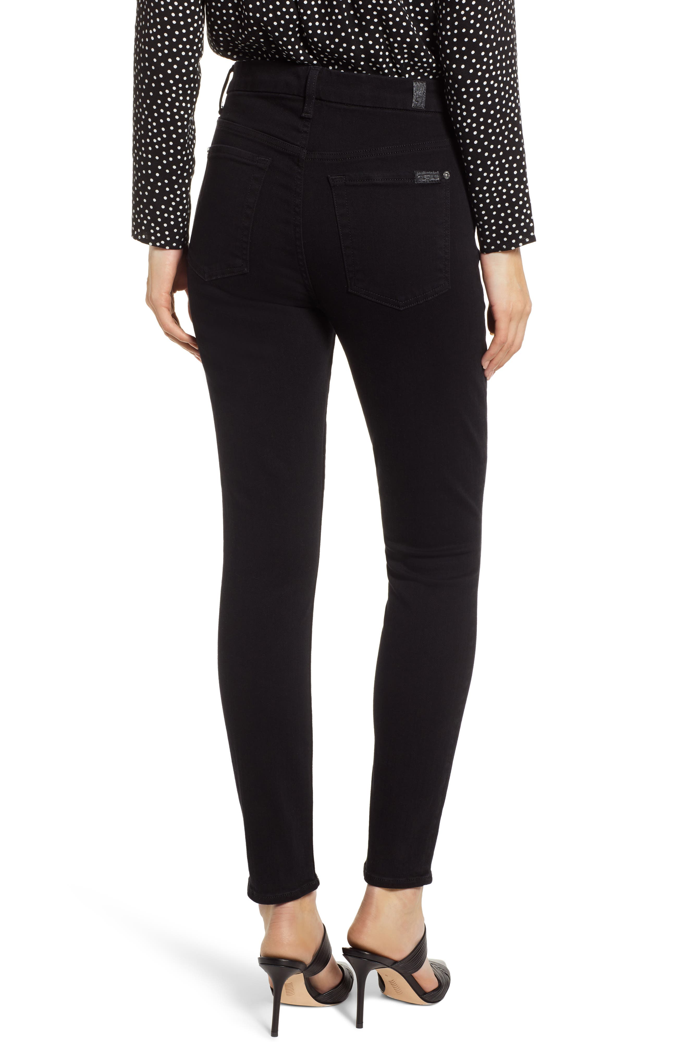 7 FOR ALL MANKIND<SUP>®</SUP>, Aubrey Super High Waist Ankle Skinny Jeans, Alternate thumbnail 2, color, PITCH BLACK