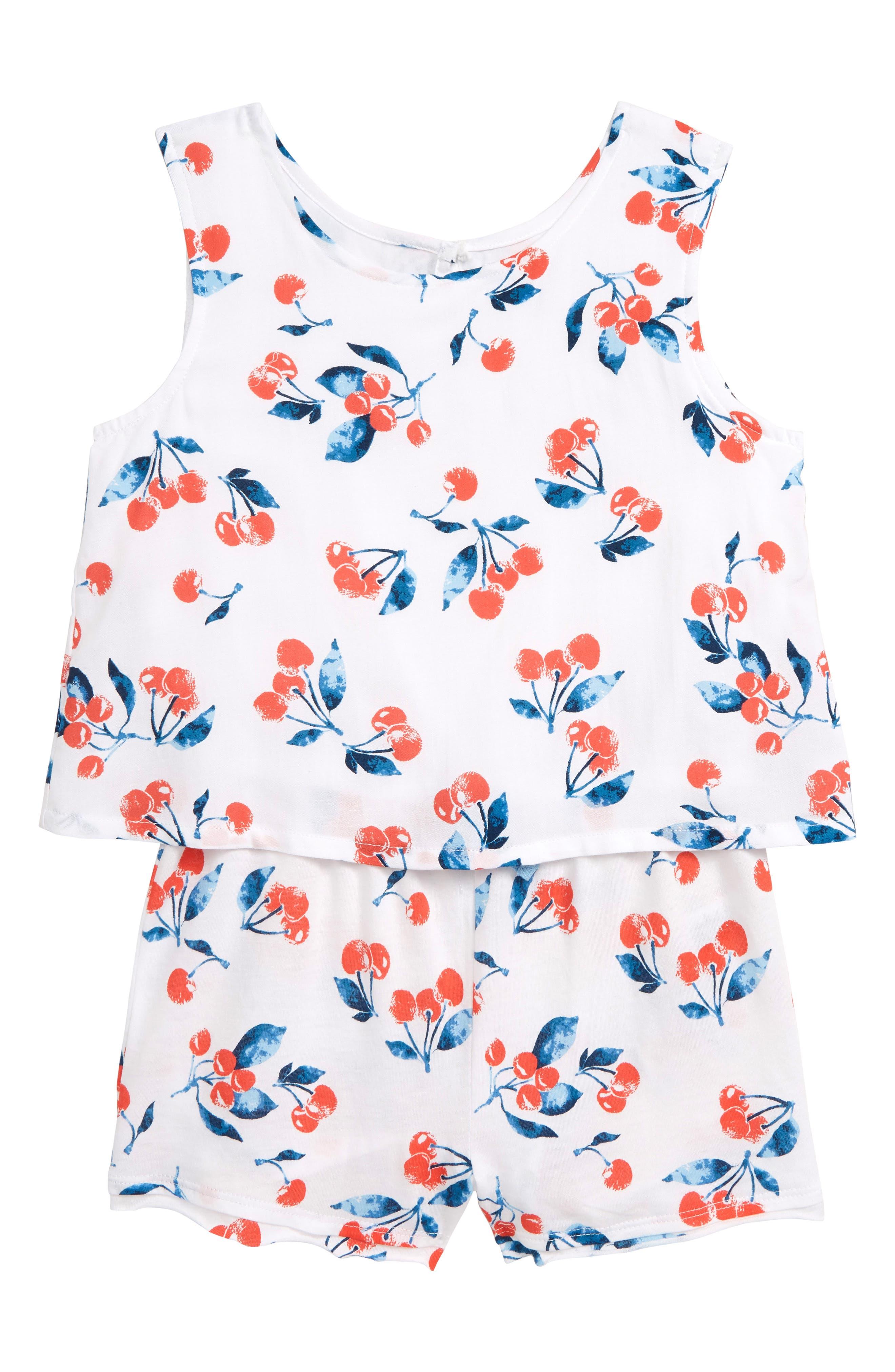 SPLENDID Cherry Print Romper, Main, color, WHITE VERANDA