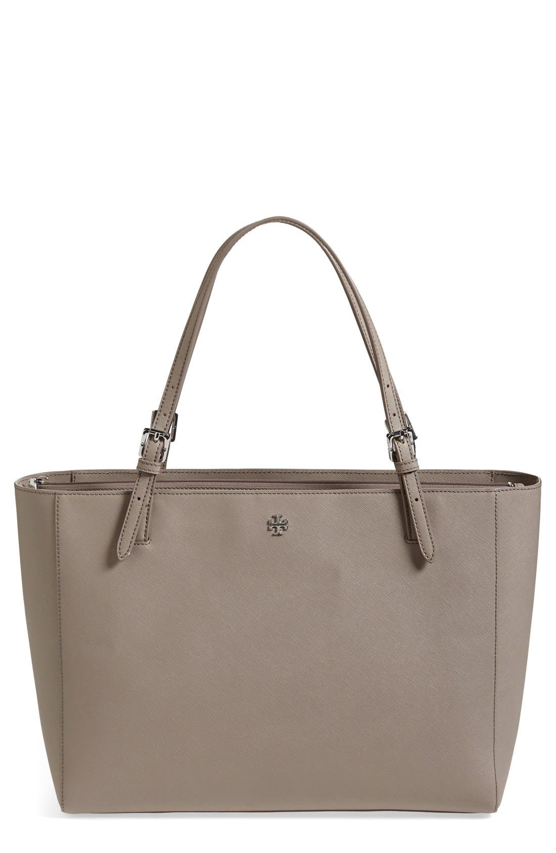 TORY BURCH, 'York' Buckle Tote, Main thumbnail 1, color, 020