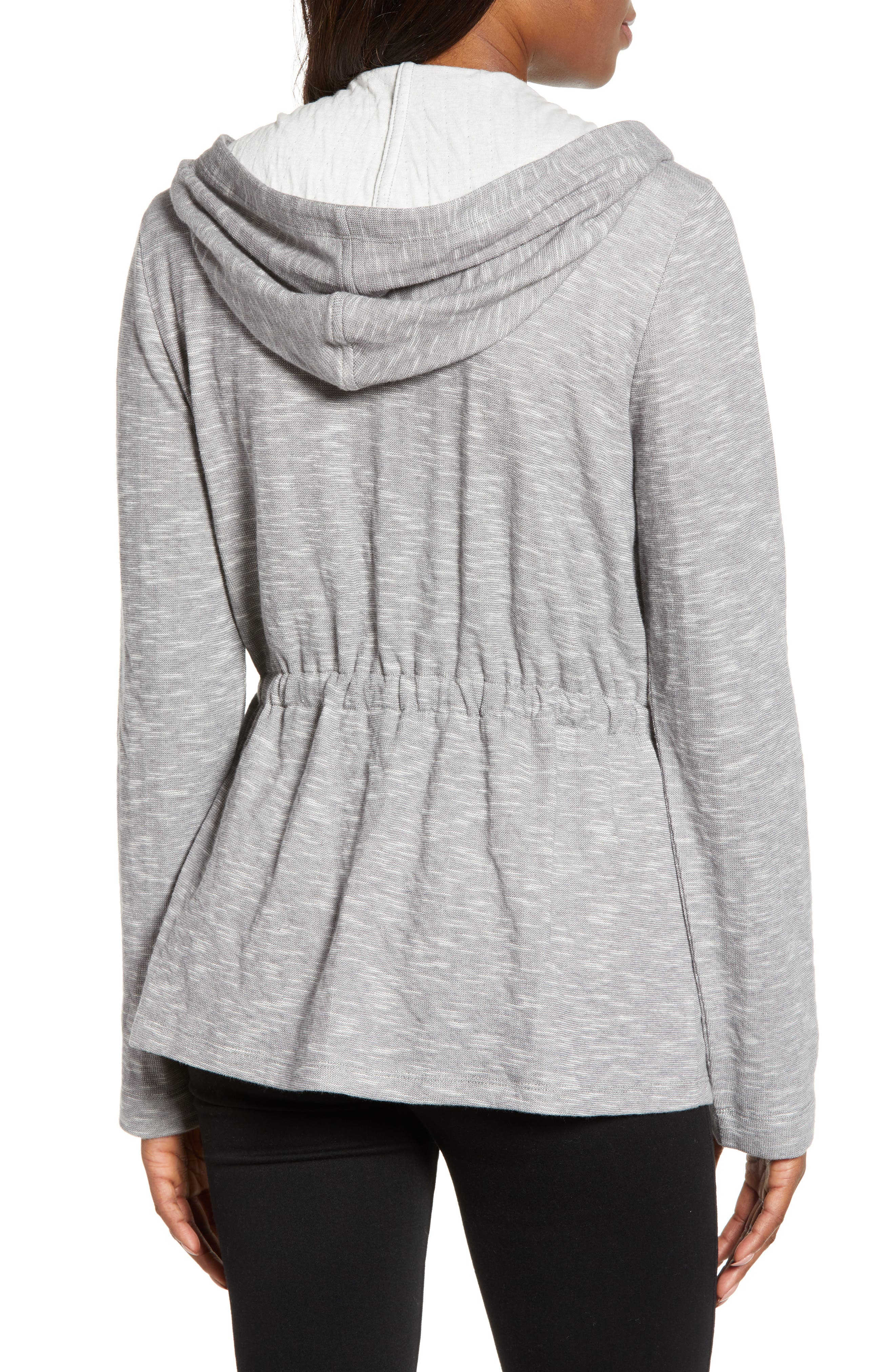 CASLON<SUP>®</SUP>, Open Front Hooded Cardigan, Alternate thumbnail 2, color, GREY- IVORY SPACEDYE