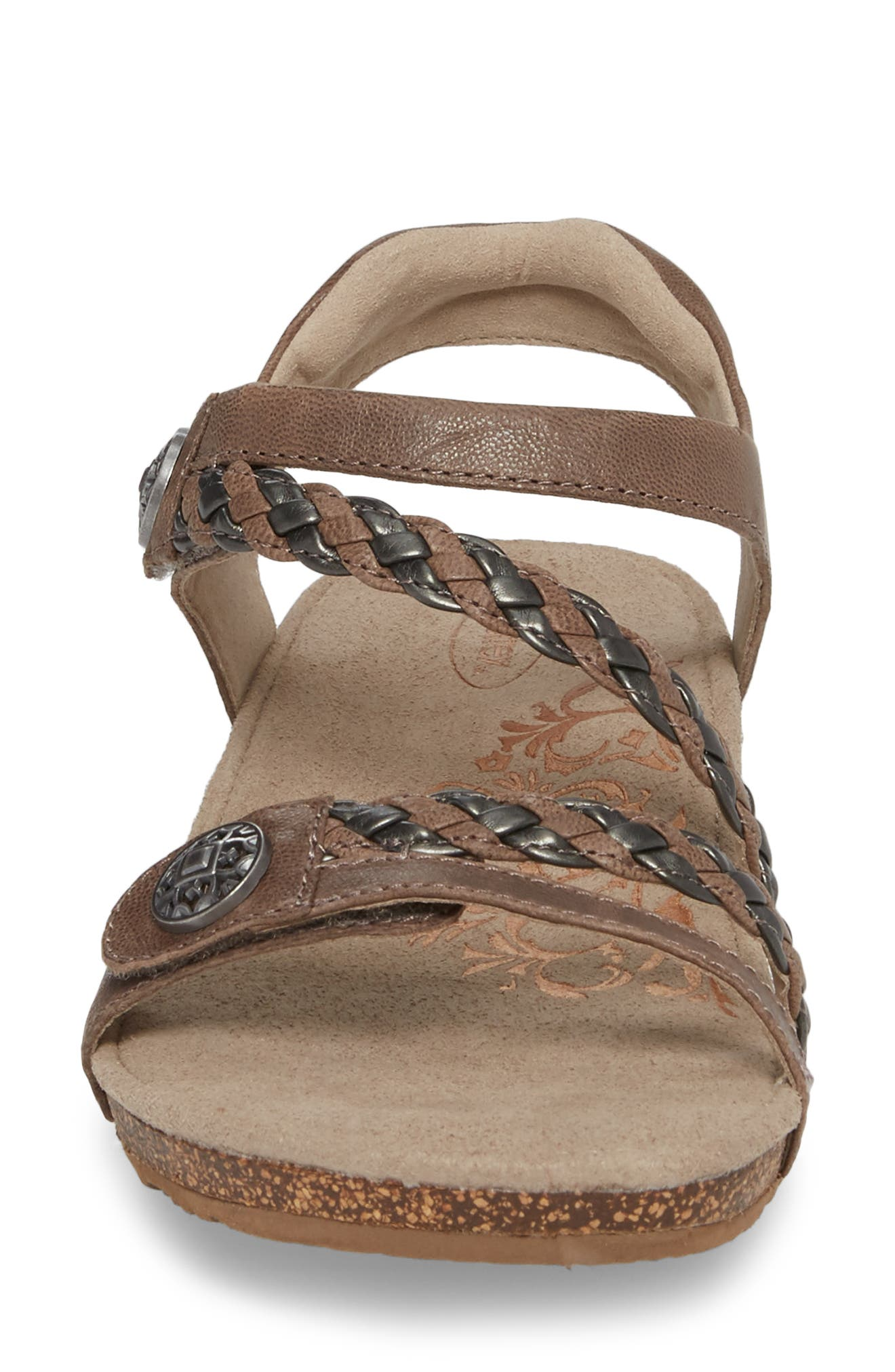 AETREX, 'Jillian' Braided Leather Strap Sandal, Alternate thumbnail 4, color, GREY LEATHER