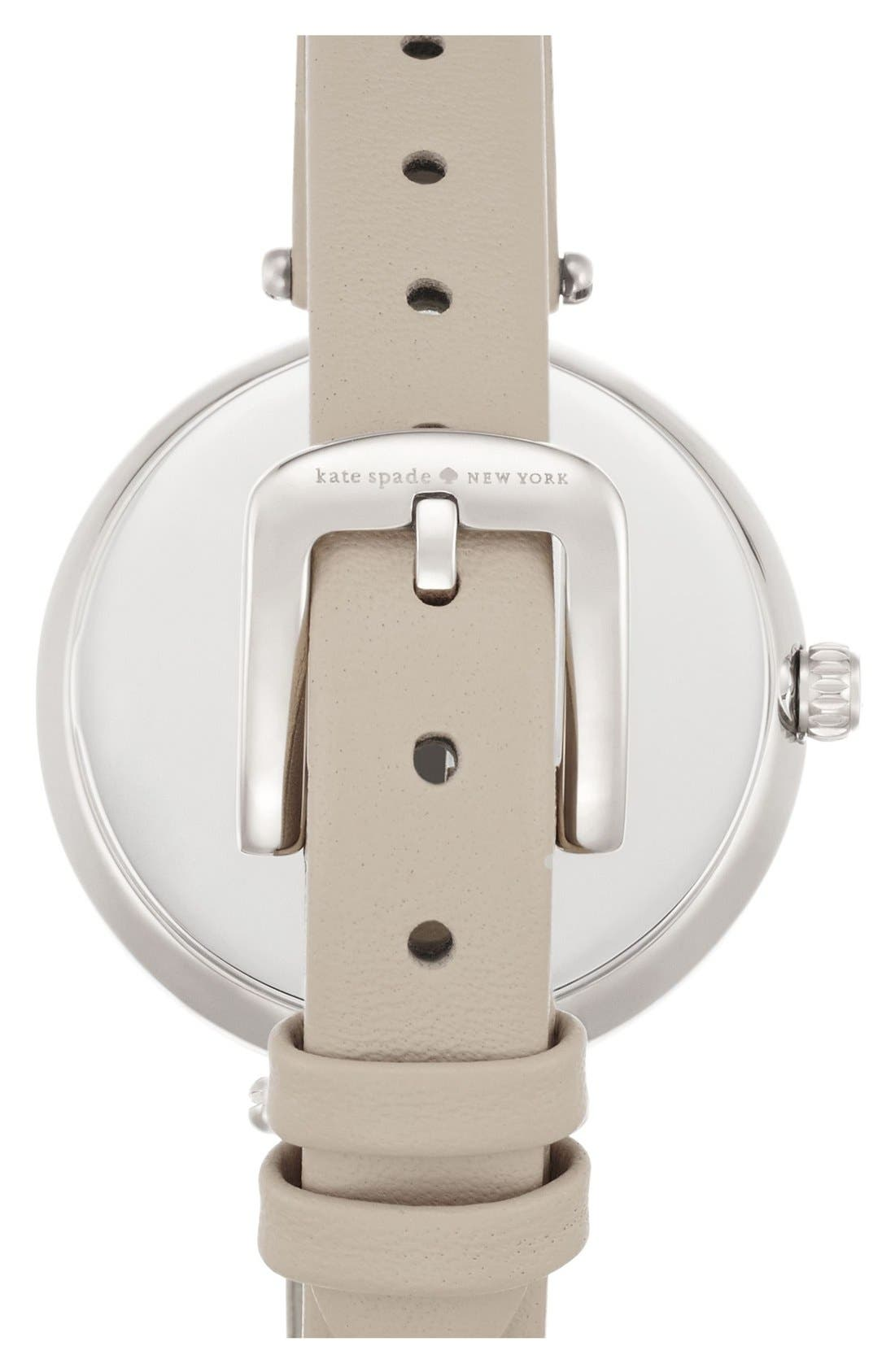 KATE SPADE NEW YORK, 'holland' round watch, 34mm, Alternate thumbnail 3, color, CLOCKTOWER GREY/ SILVER