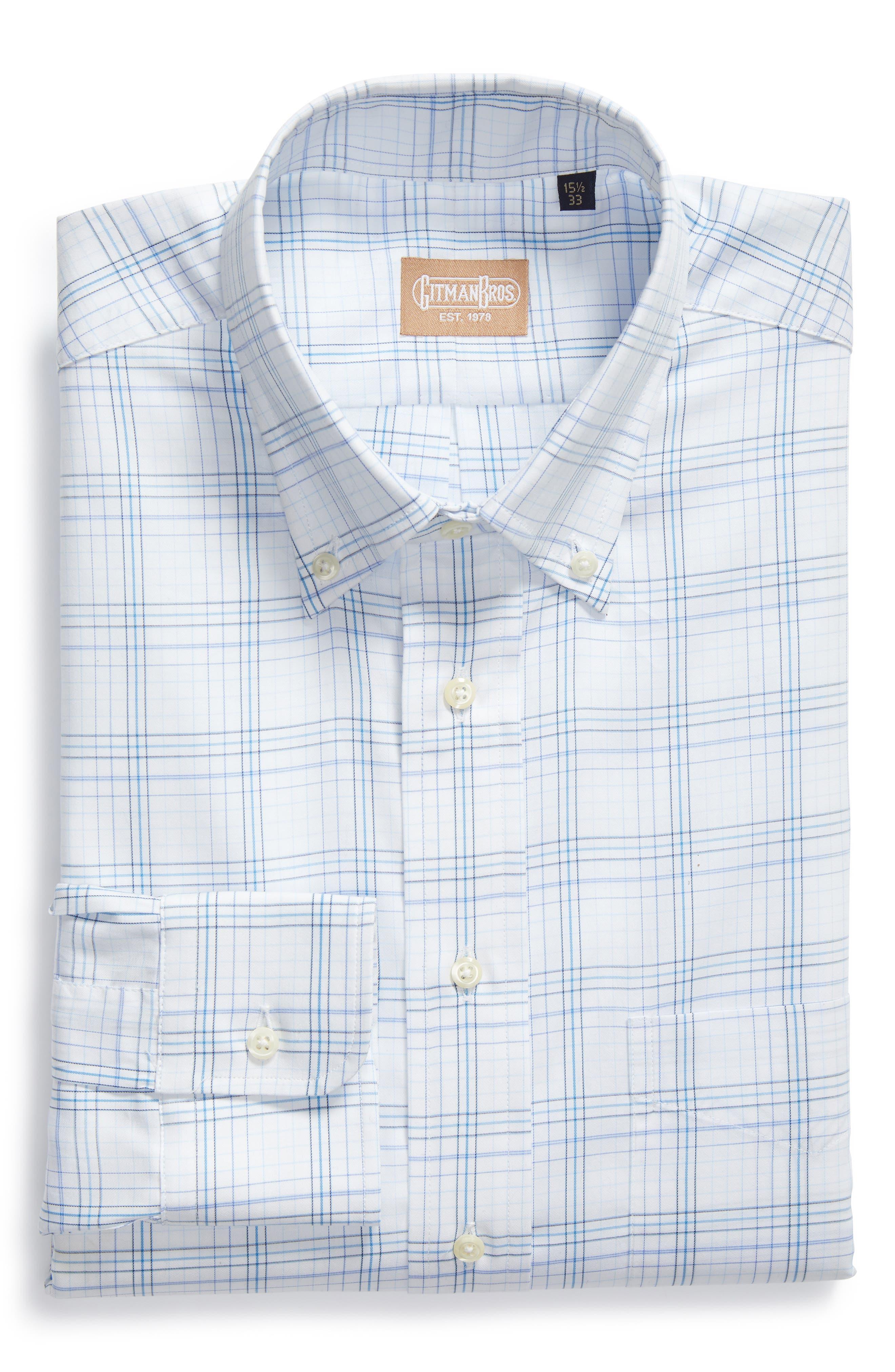 GITMAN, Tailored Fit Plaid Dress Shirt, Alternate thumbnail 5, color, BLUE