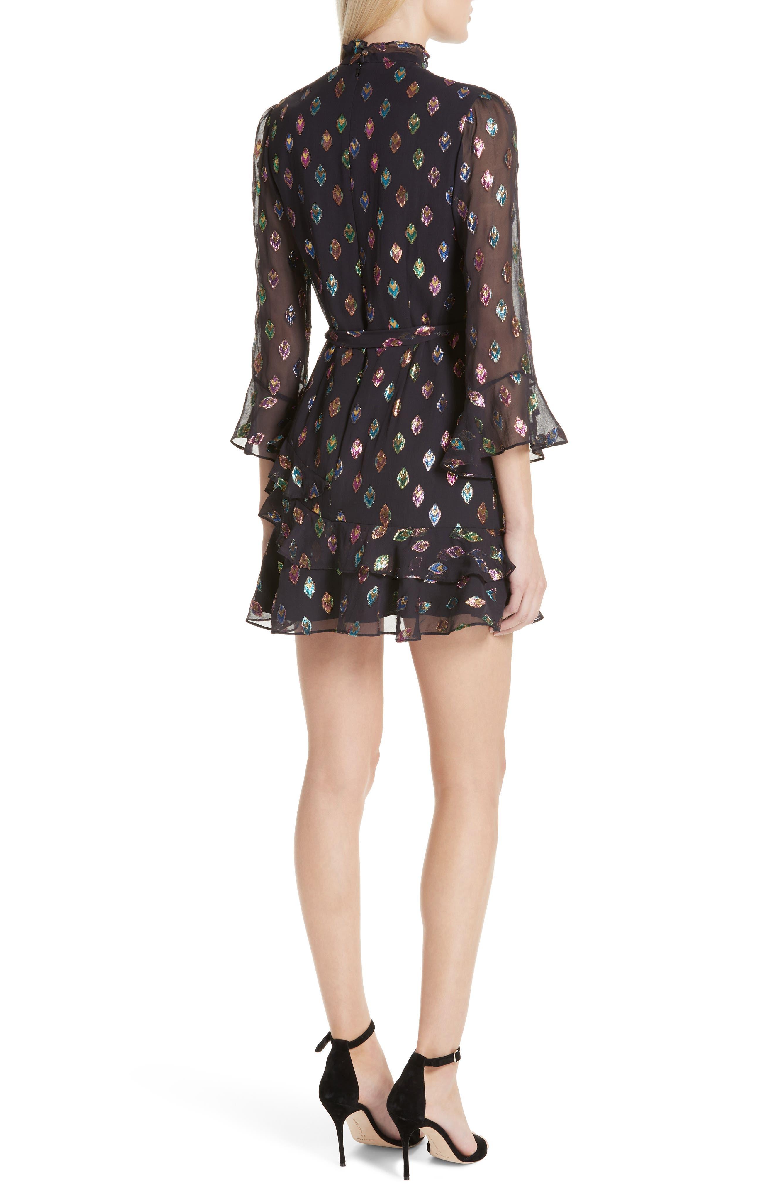 SALONI, Marissa Metallic Fil Coupé Silk Blend Minidress, Alternate thumbnail 2, color, 003