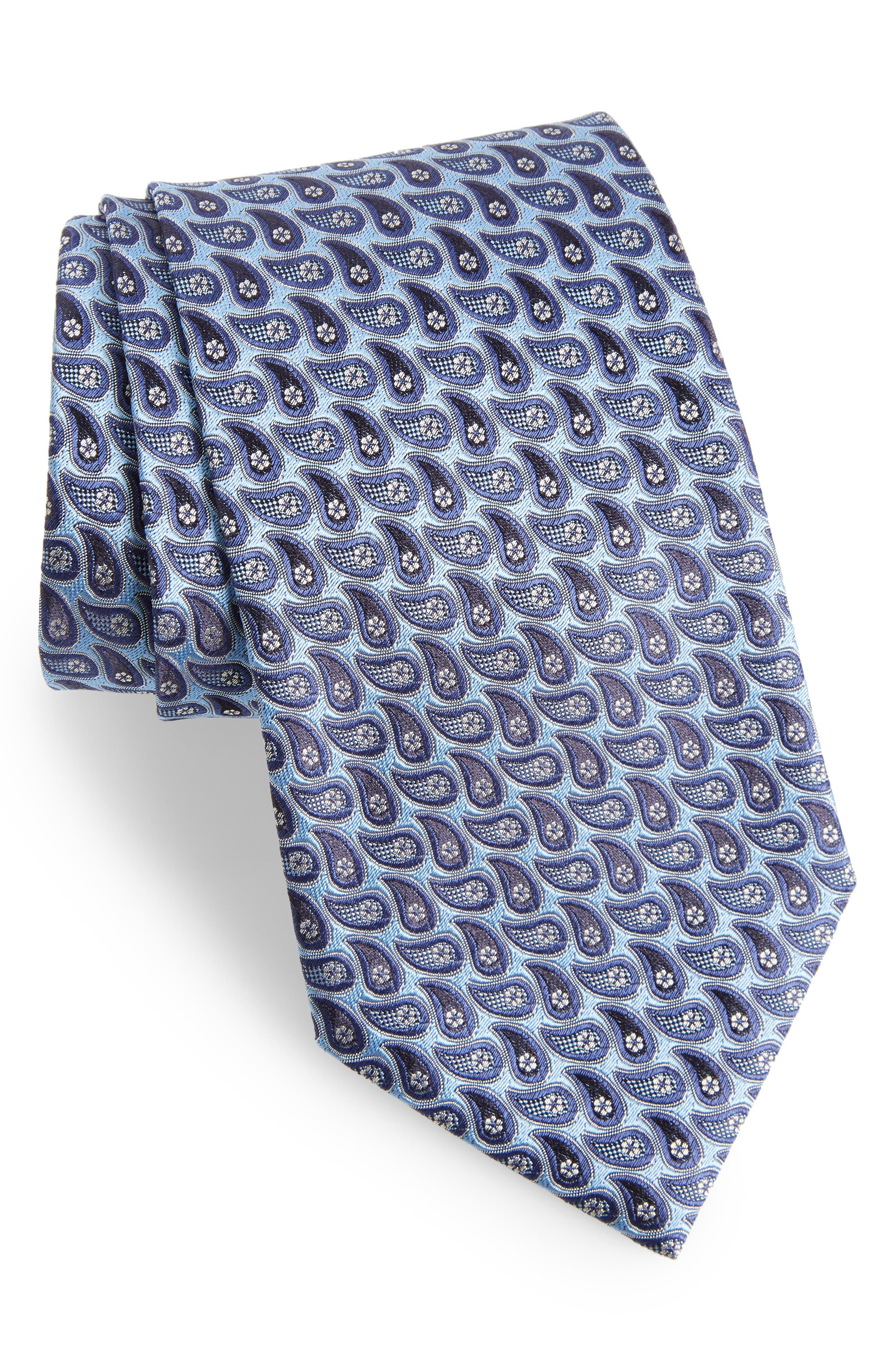 ERMENEGILDO ZEGNA, Geometric Paisley Silk Tie, Main thumbnail 1, color, BLUE