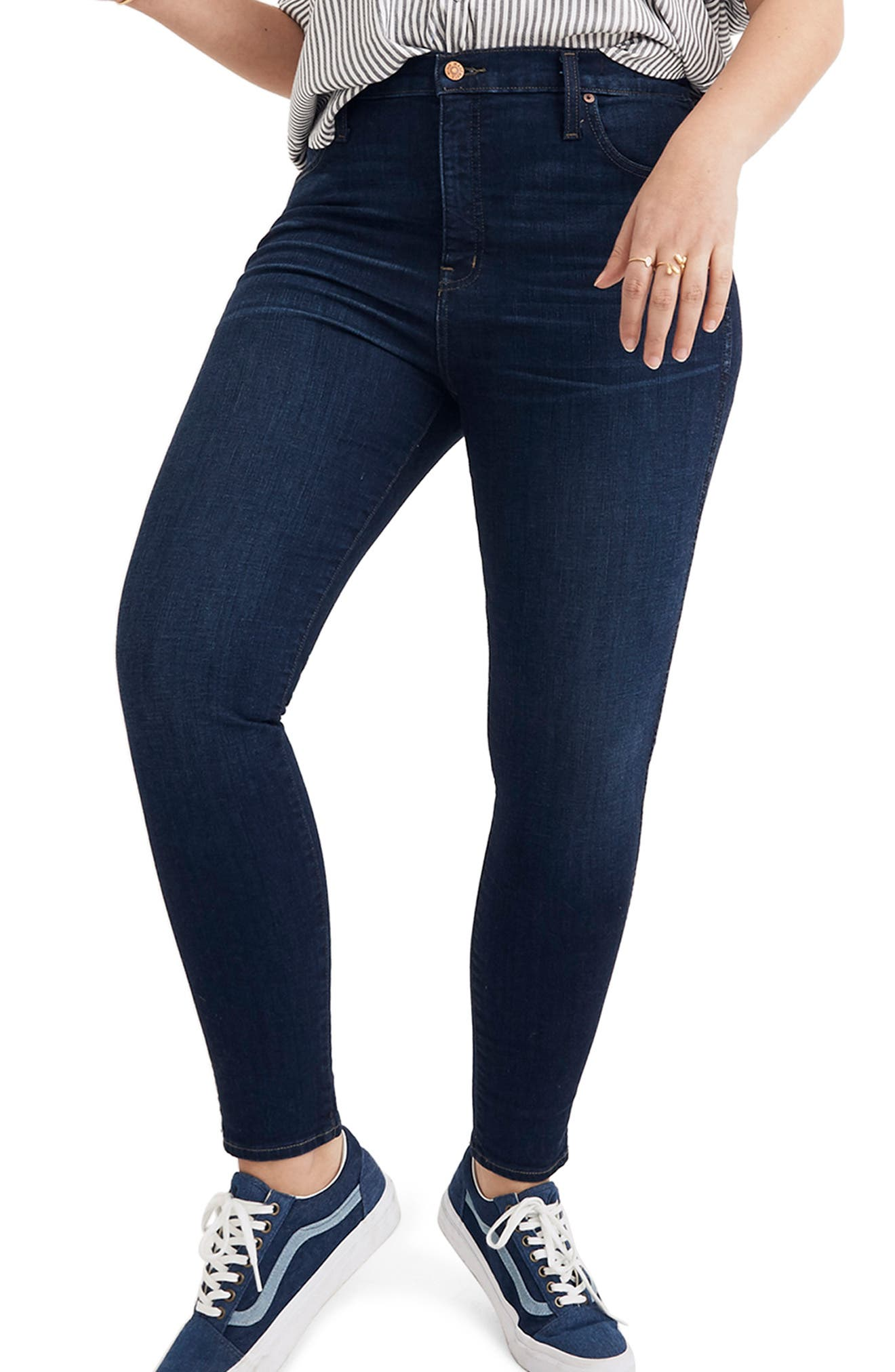 MADEWELL, 10-Inch High Rise Skinny Jeans, Alternate thumbnail 2, color, HAYES WASH
