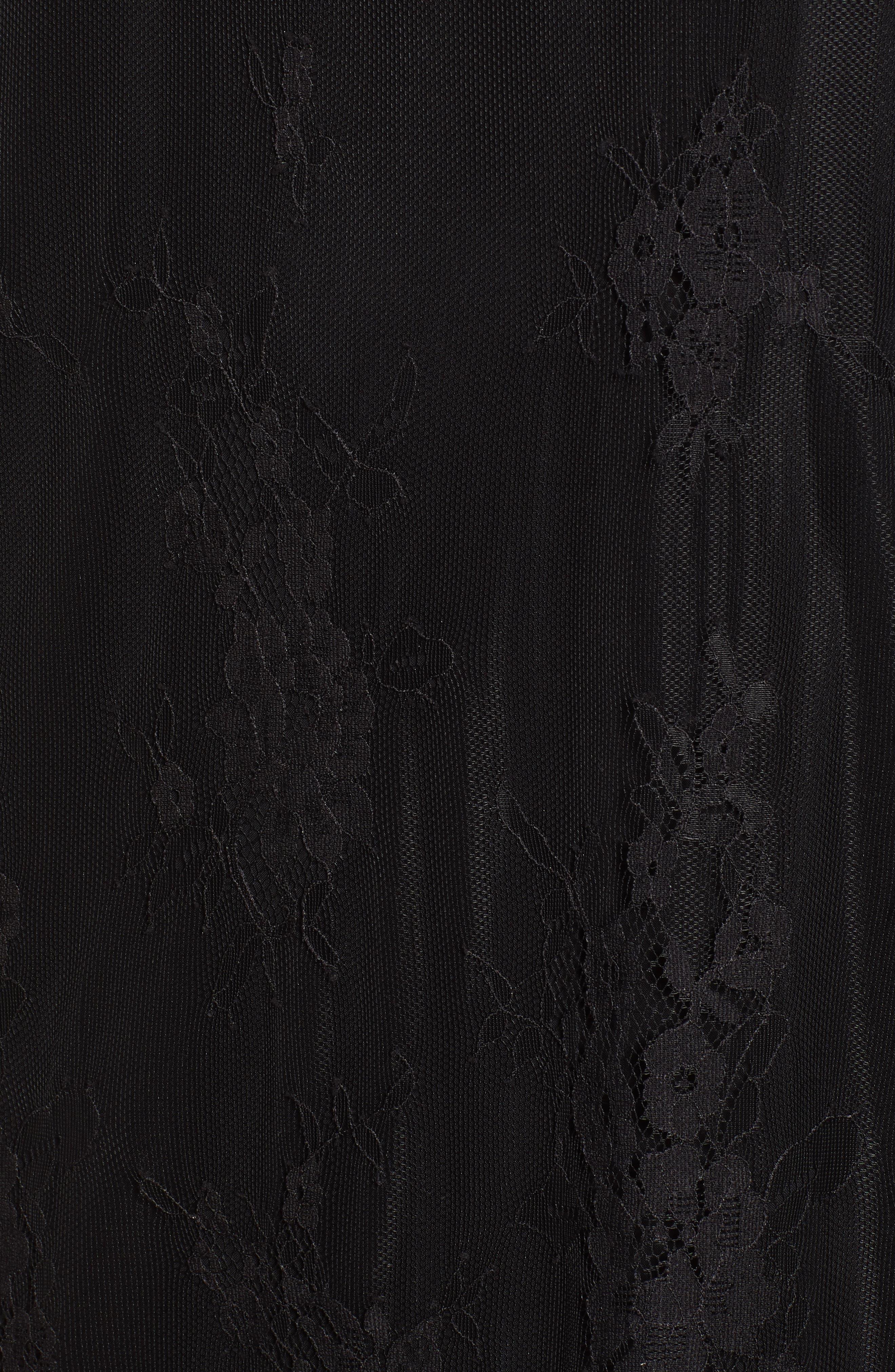 ROSEMUNDE, Aix Lace Dress, Alternate thumbnail 6, color, BLACK