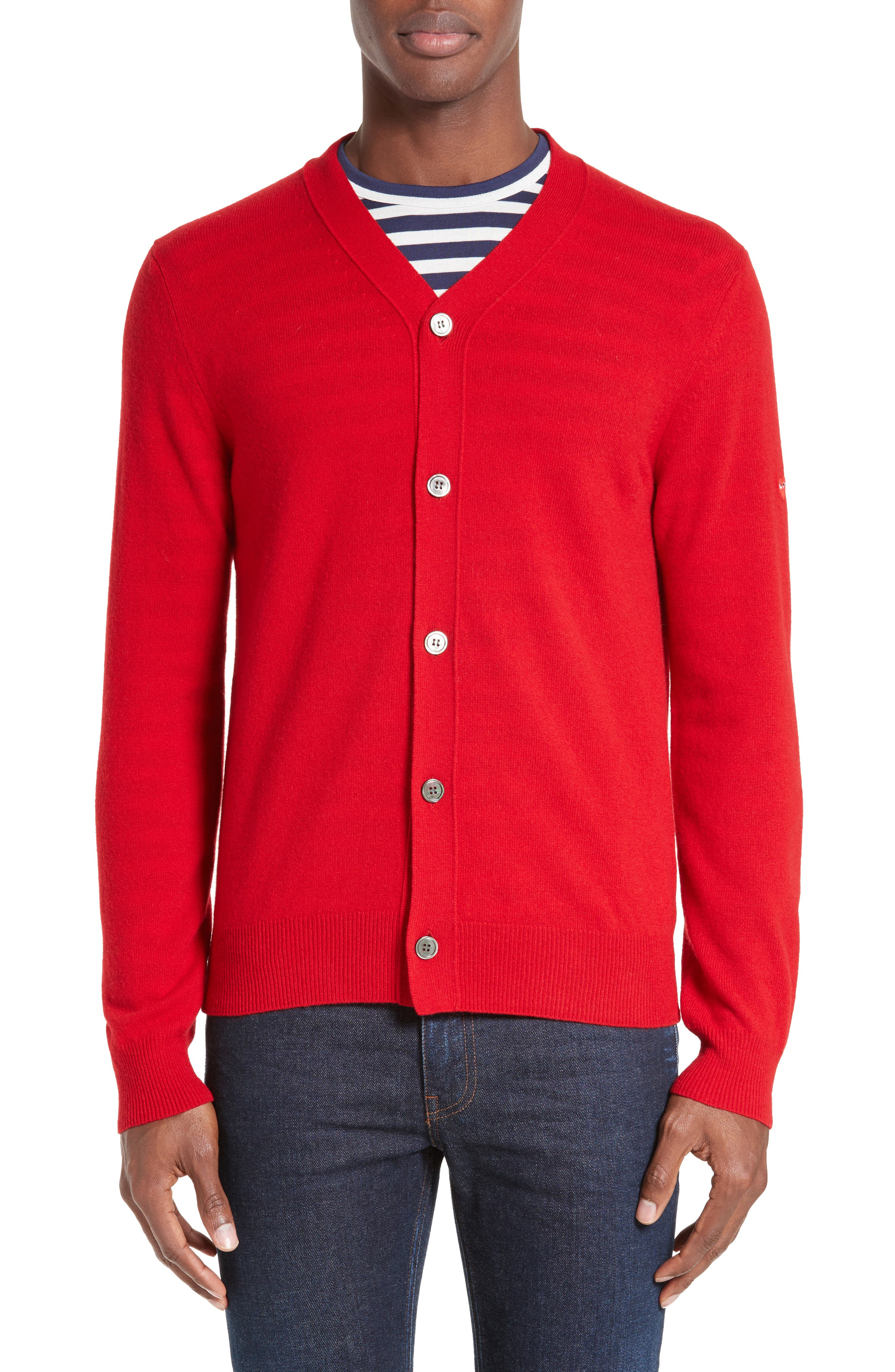 COMME DES GARÇONS PLAY, Wool Cardigan, Alternate thumbnail 4, color, RED