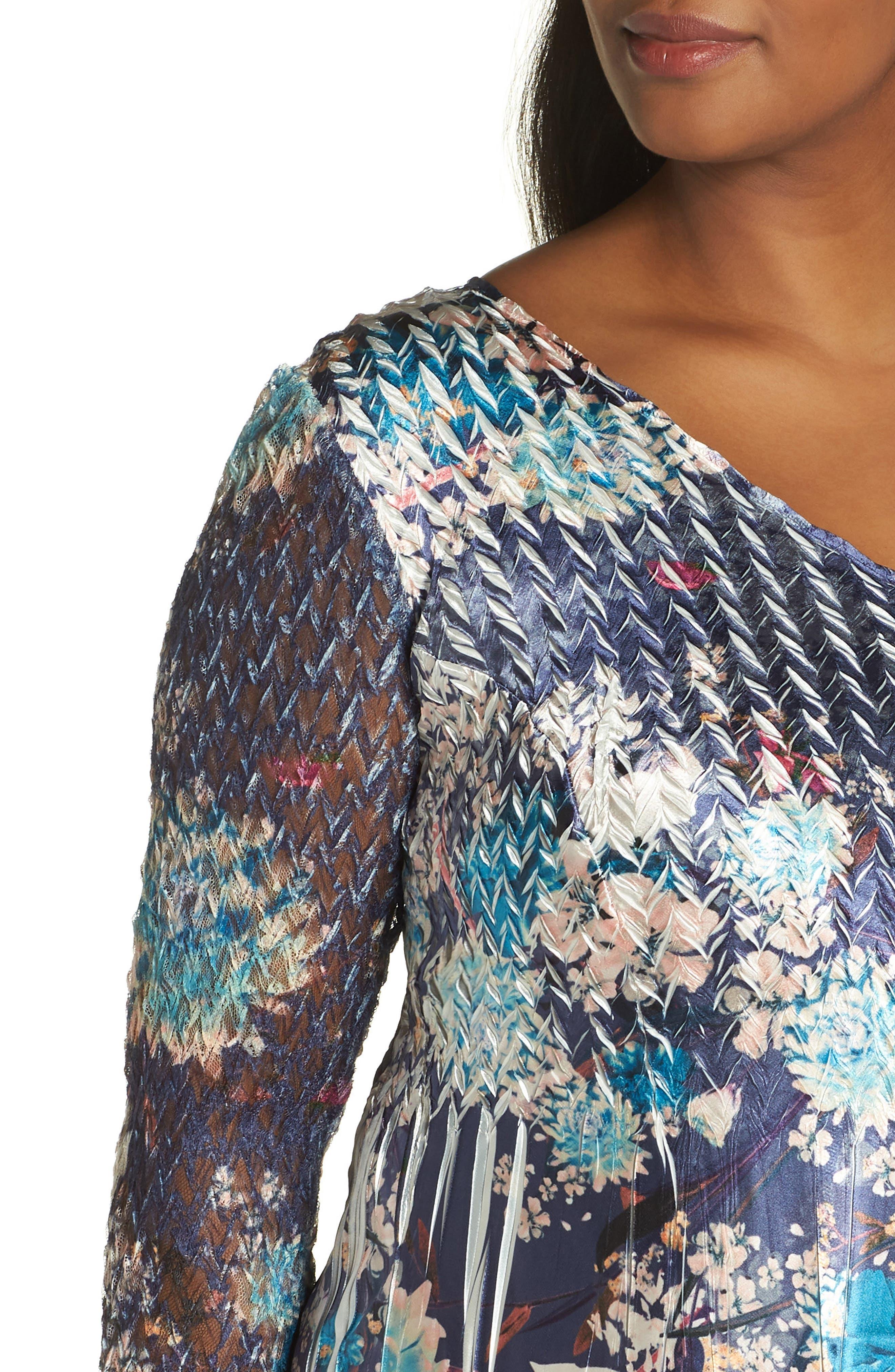 KOMAROV, Print Charmeuse & Chiffon A-Line Dress, Alternate thumbnail 5, color, CELESTIAL MEADOW