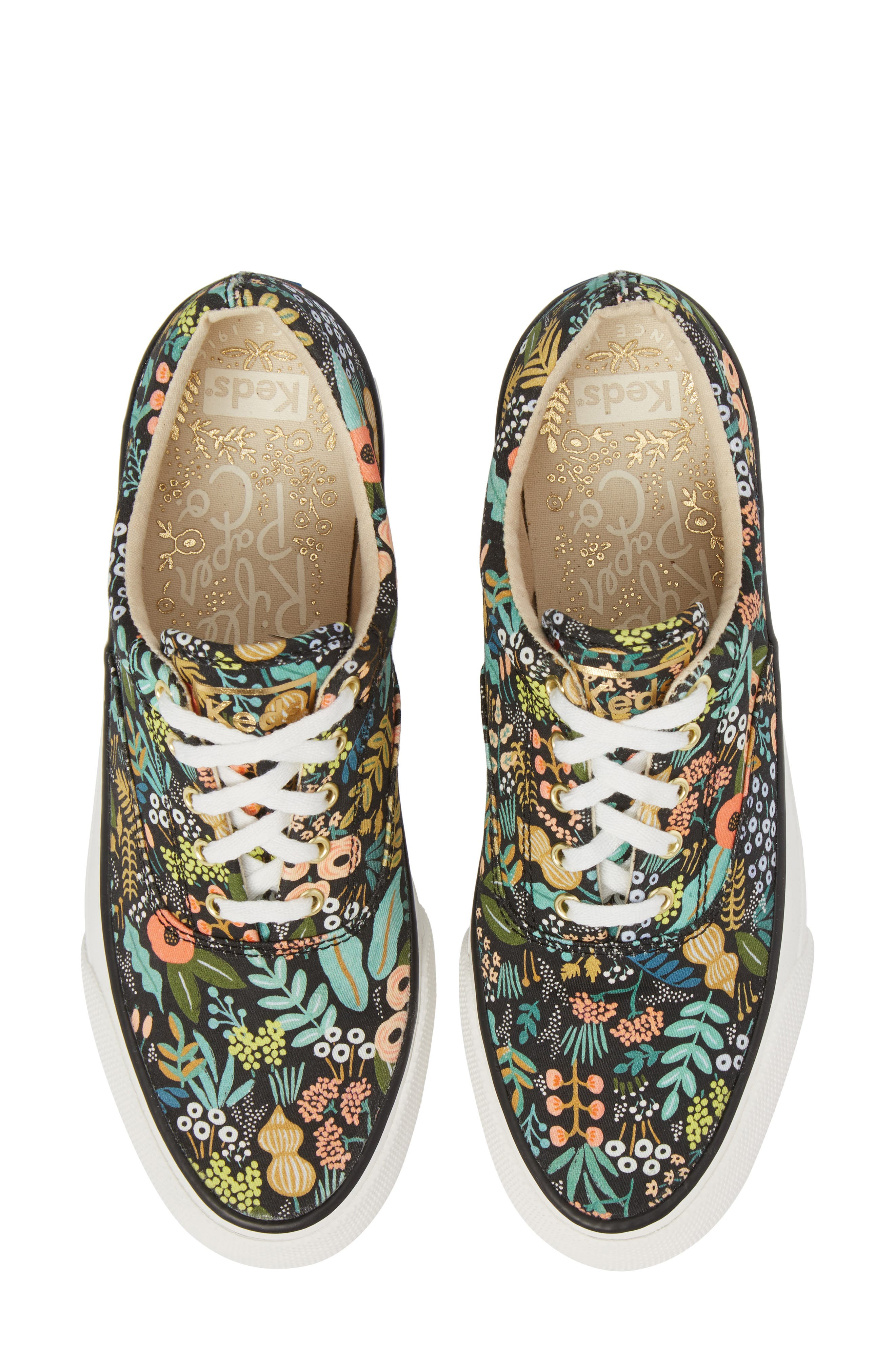 KEDS<SUP>®</SUP>, x Rifle Paper Co. Anchor Lively Floral Slip-On Sneaker, Main thumbnail 1, color, BLACK