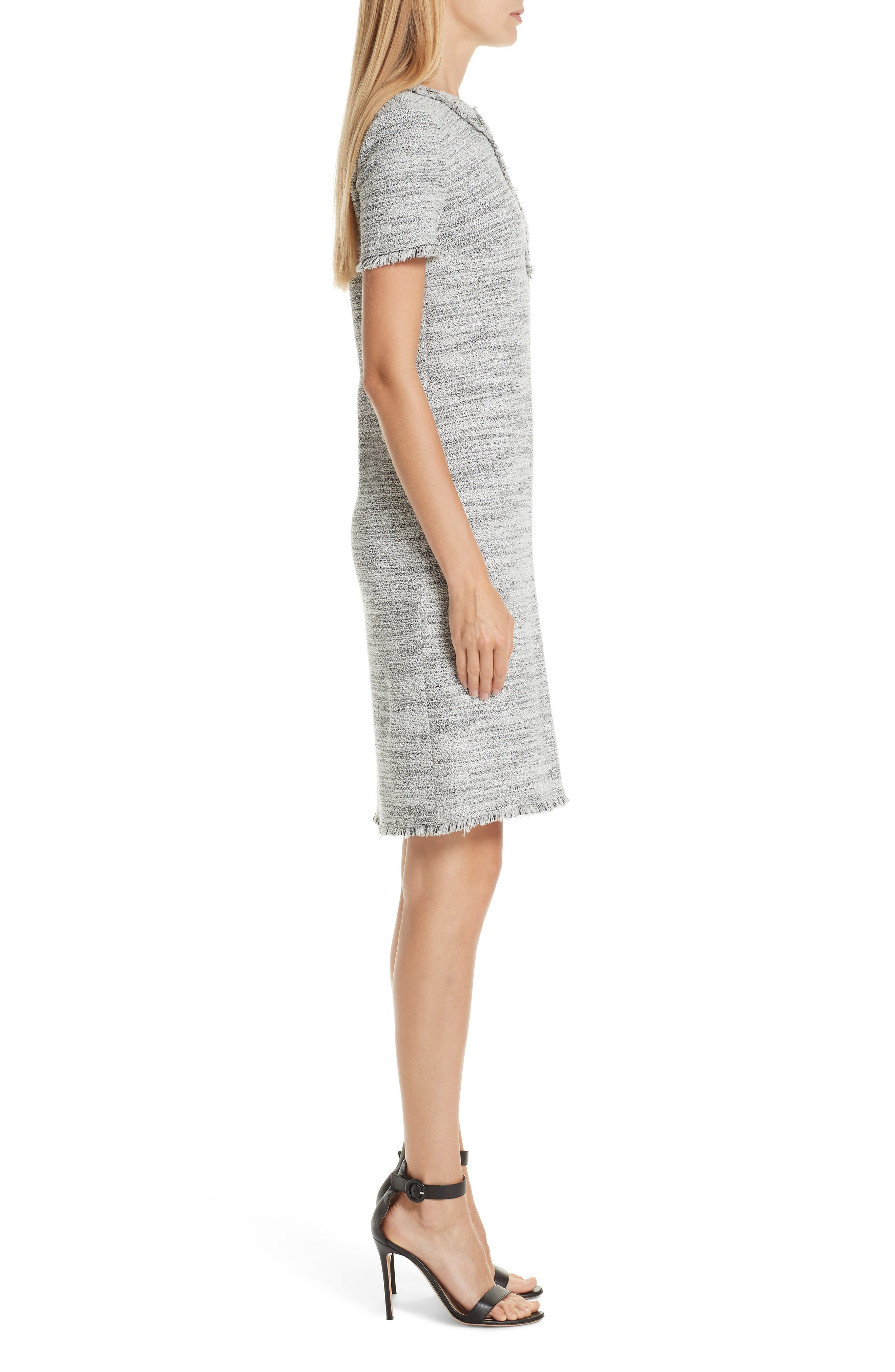 ST. JOHN COLLECTION, Eaton Place Tweed Knit Dress, Alternate thumbnail 4, color, CAVIAR/ CREAM