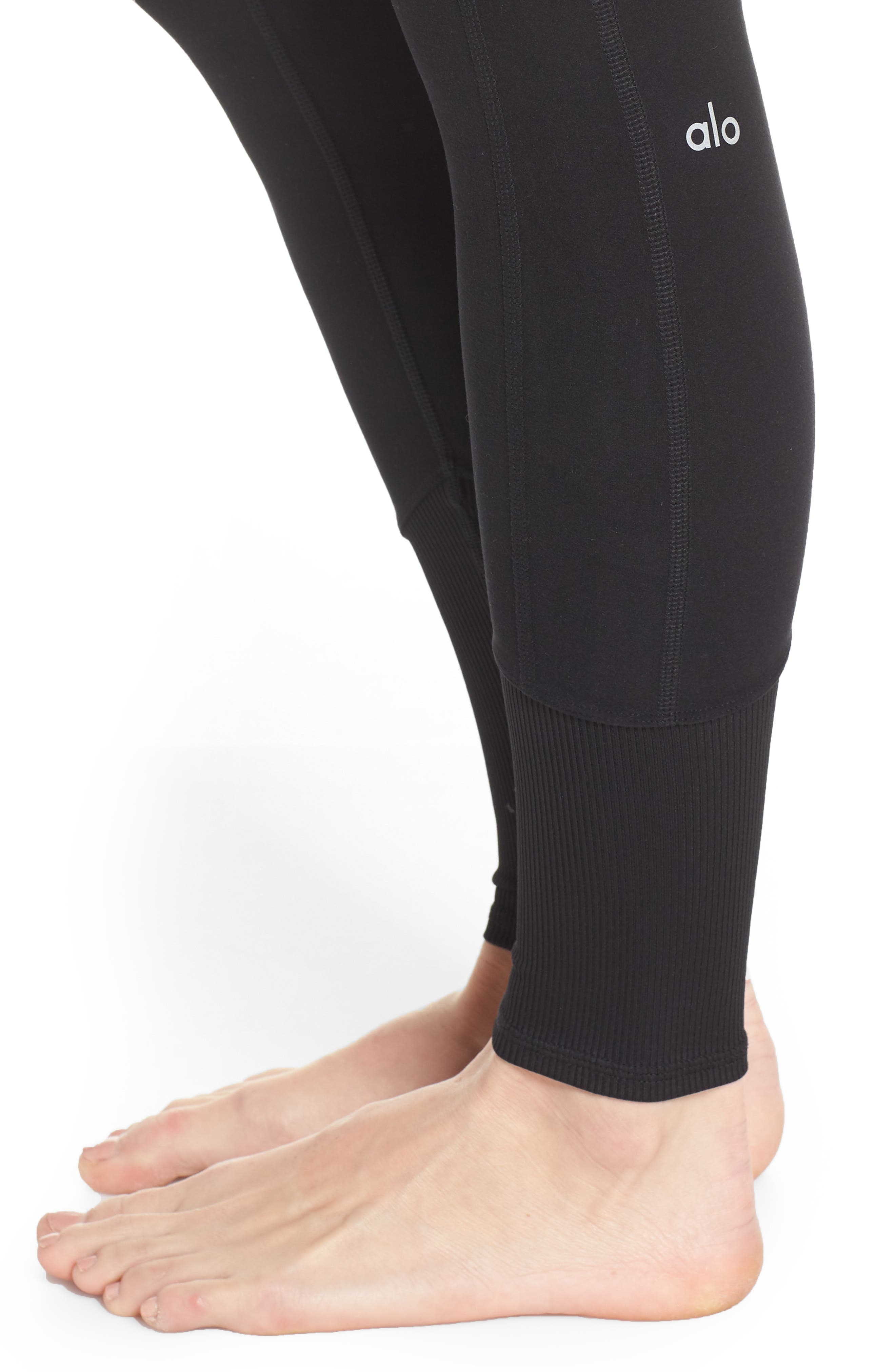 ALO, High Waist Lounge Leggings, Alternate thumbnail 5, color, BLACK