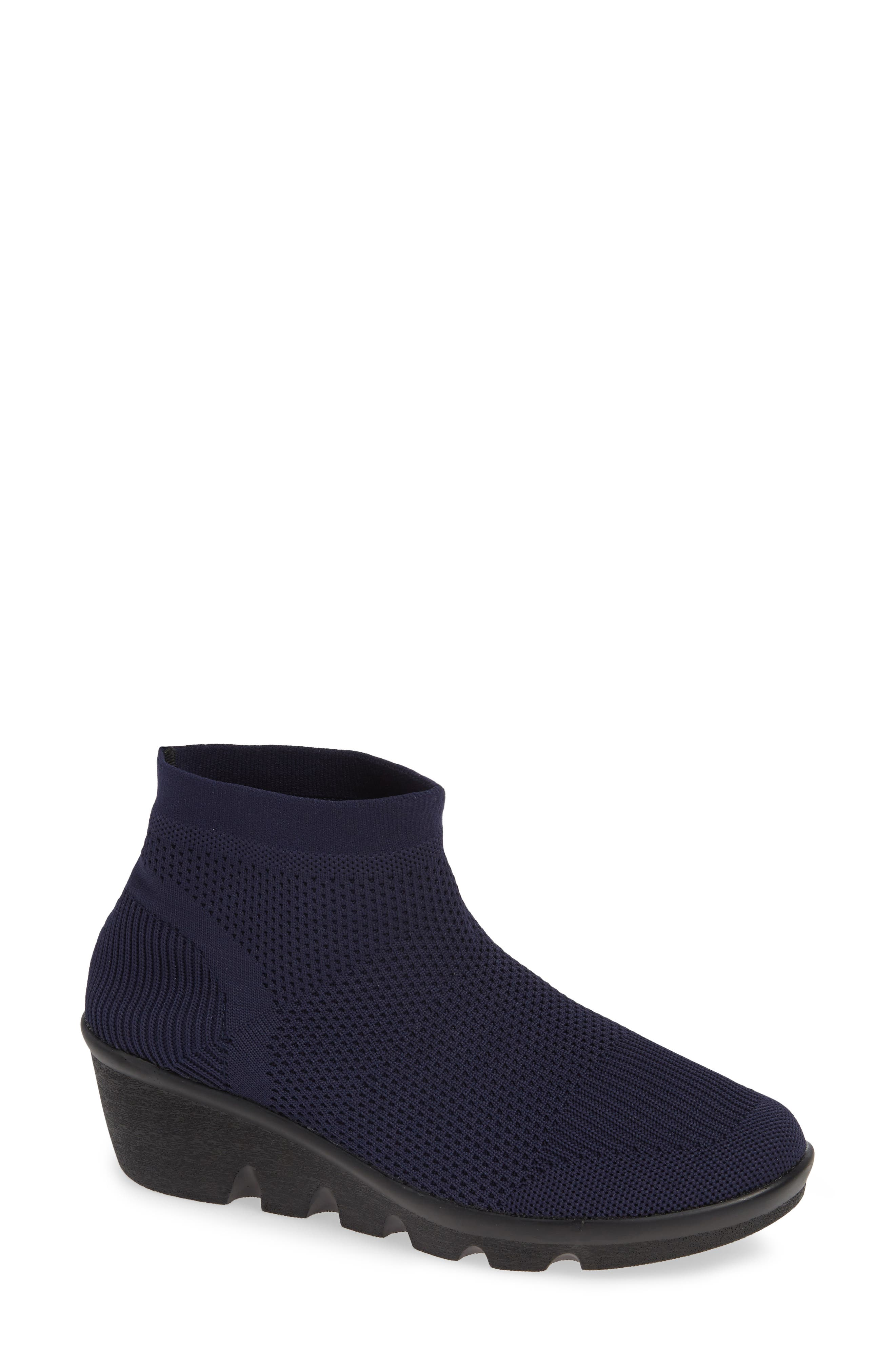 BERNIE MEV. Camryn Knit Bootie, Main, color, NAVY FABRIC
