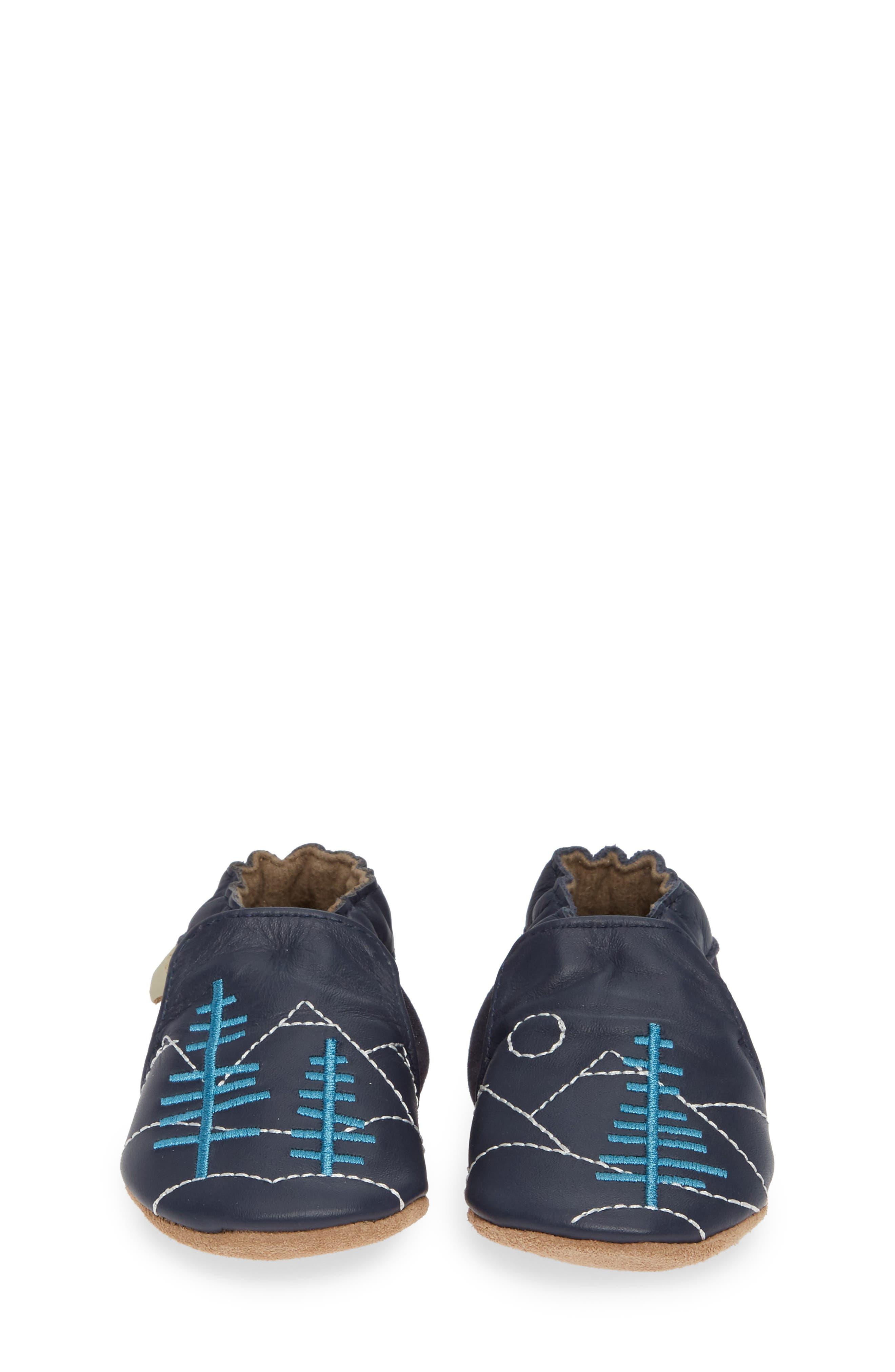 ROBEEZ<SUP>®</SUP>, Mountain Explorer Moccasin Crib Shoe, Alternate thumbnail 5, color, NAVY