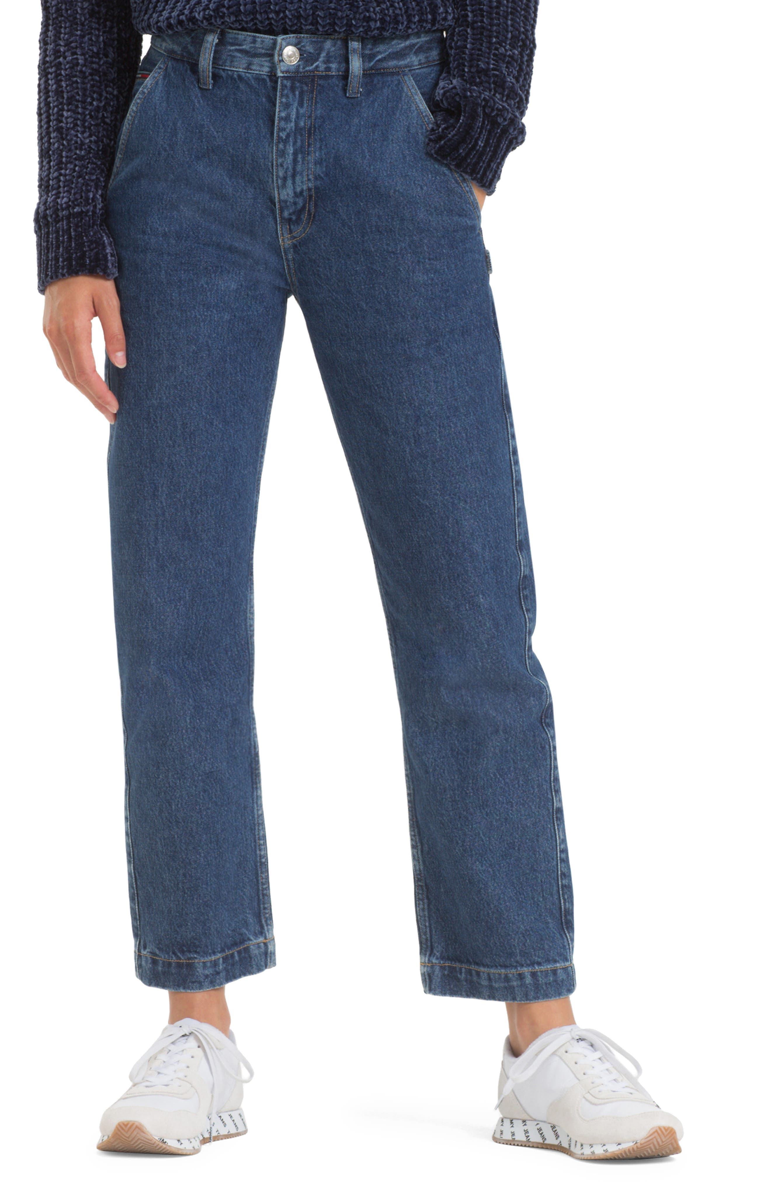 TOMMY JEANS, TJW Straight Leg Jeans, Main thumbnail 1, color, 400