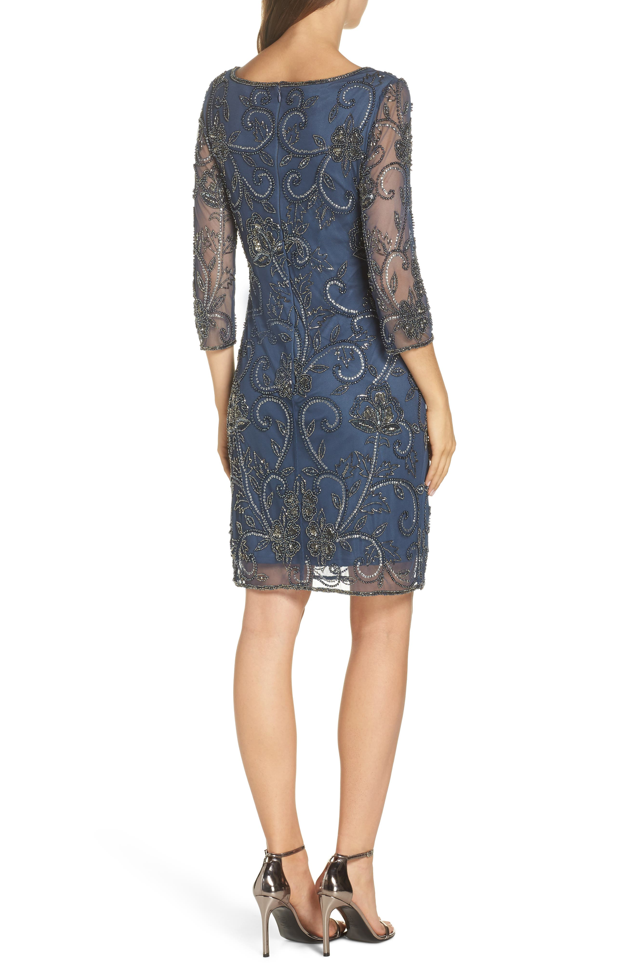 PISARRO NIGHTS, Embellished Mesh Sheath Dress, Alternate thumbnail 2, color, BLUE