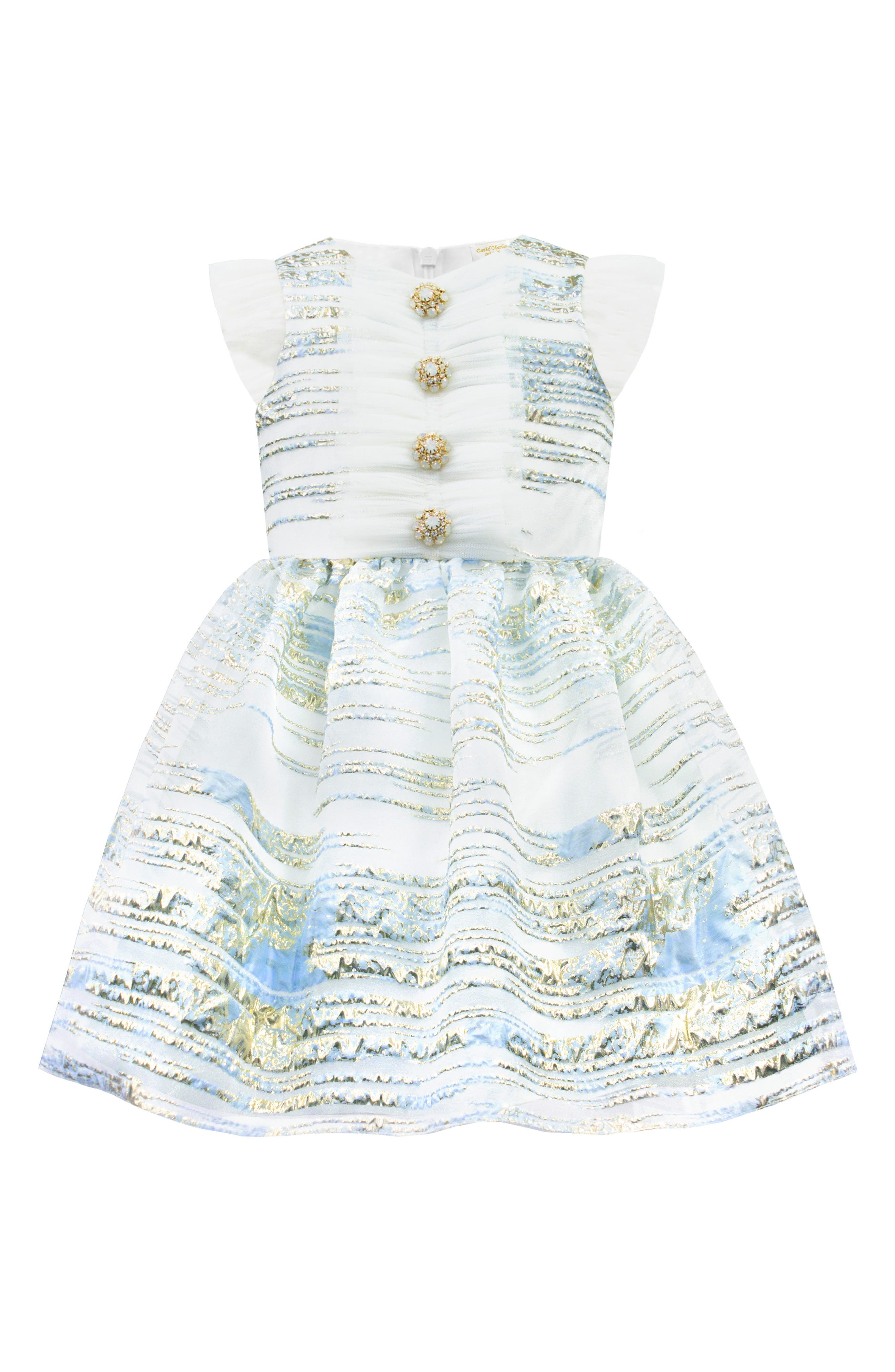 DAVID CHARLES, Metallic Stripe Organza Party Dress, Main thumbnail 1, color, BLUE
