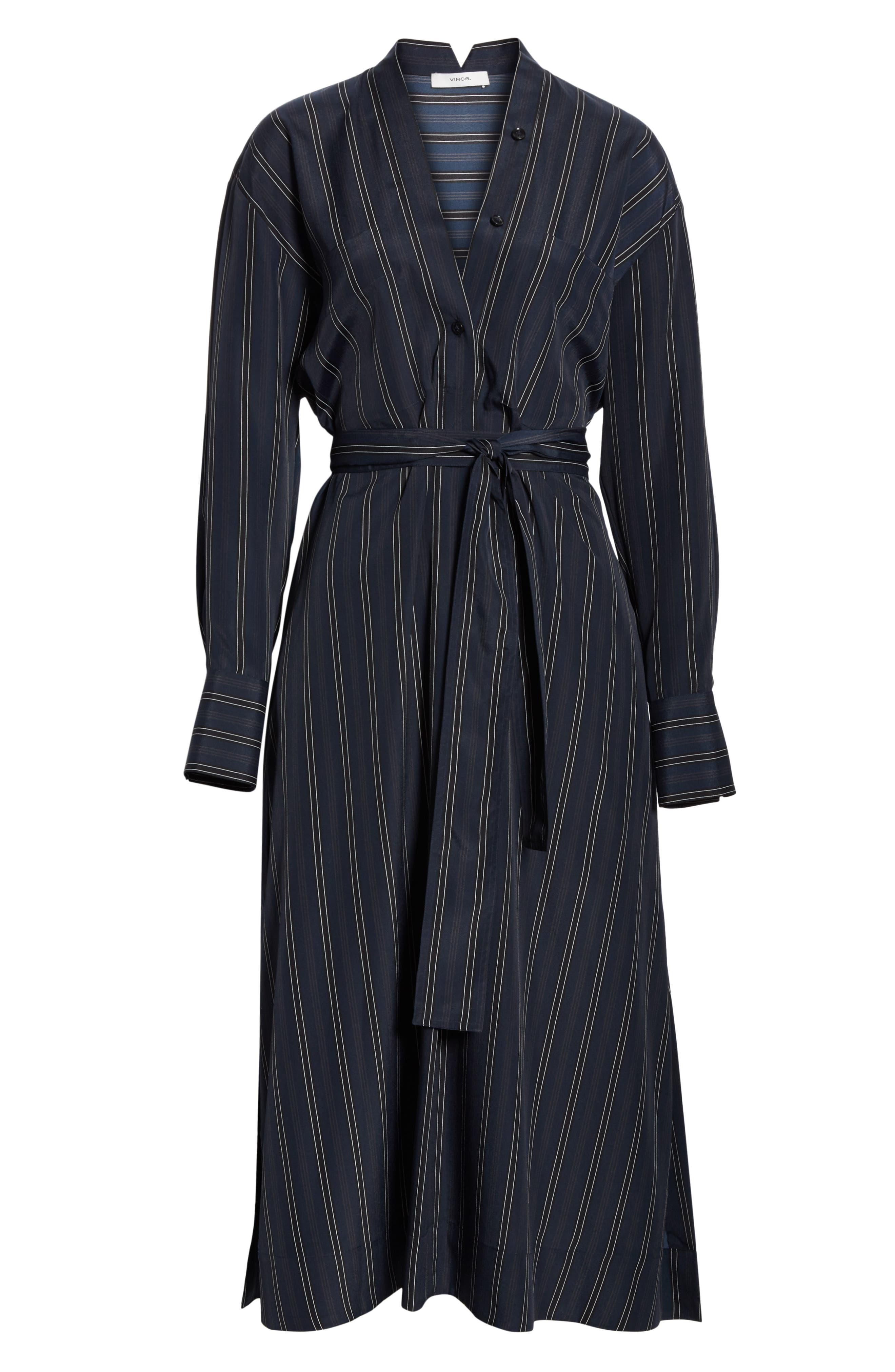 VINCE, Stripe Belted Midi Shirtdress, Alternate thumbnail 7, color, MARINE