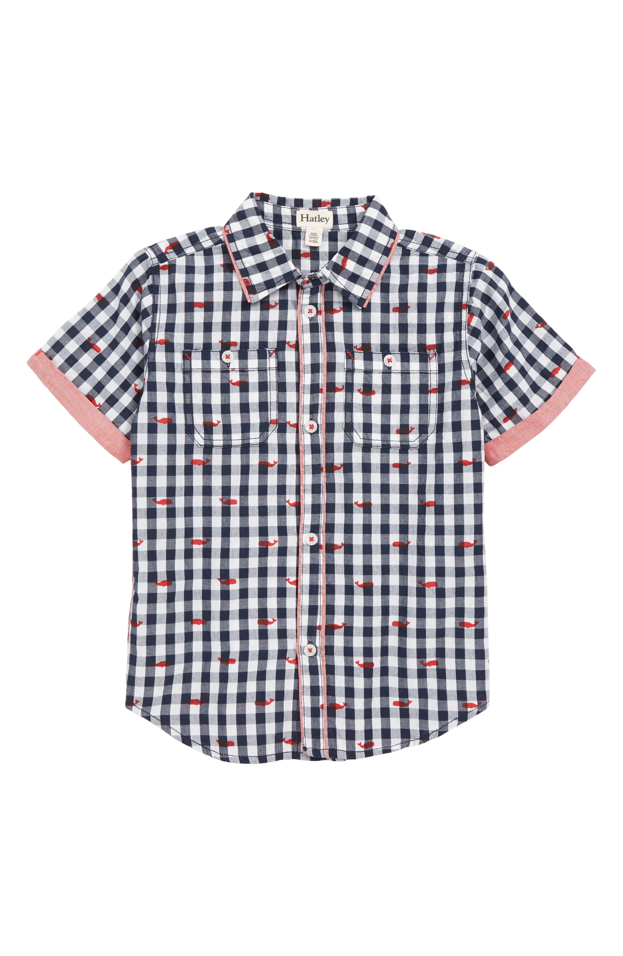 HATLEY, Whale Pod Check Shirt, Main thumbnail 1, color, WHITE