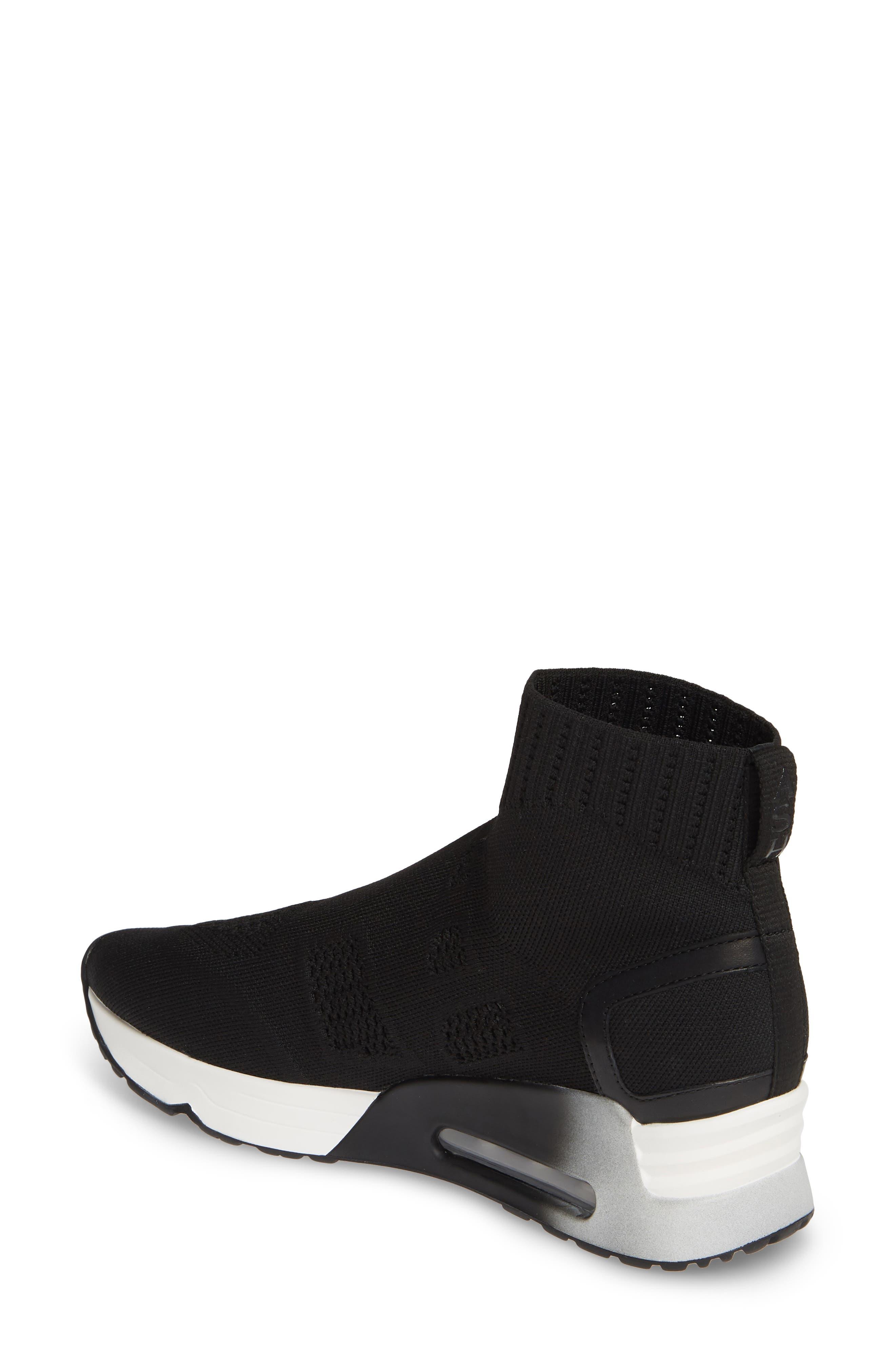 ASH, Knit Sneaker Bootie, Alternate thumbnail 2, color, BLACK