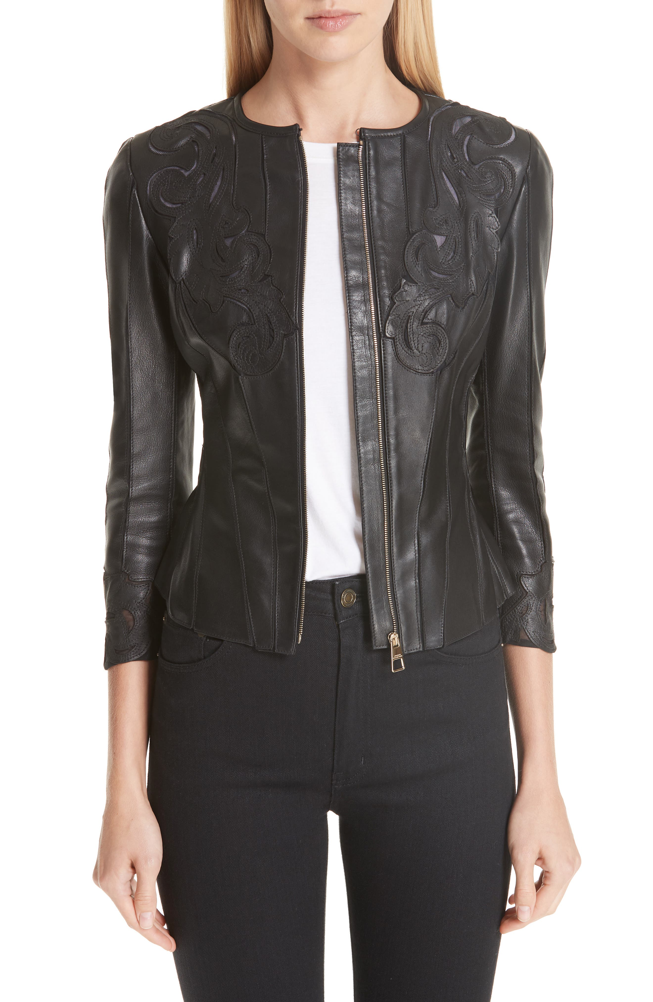 VERSACE COLLECTION, Fitted Leather Jacket, Main thumbnail 1, color, BLACK