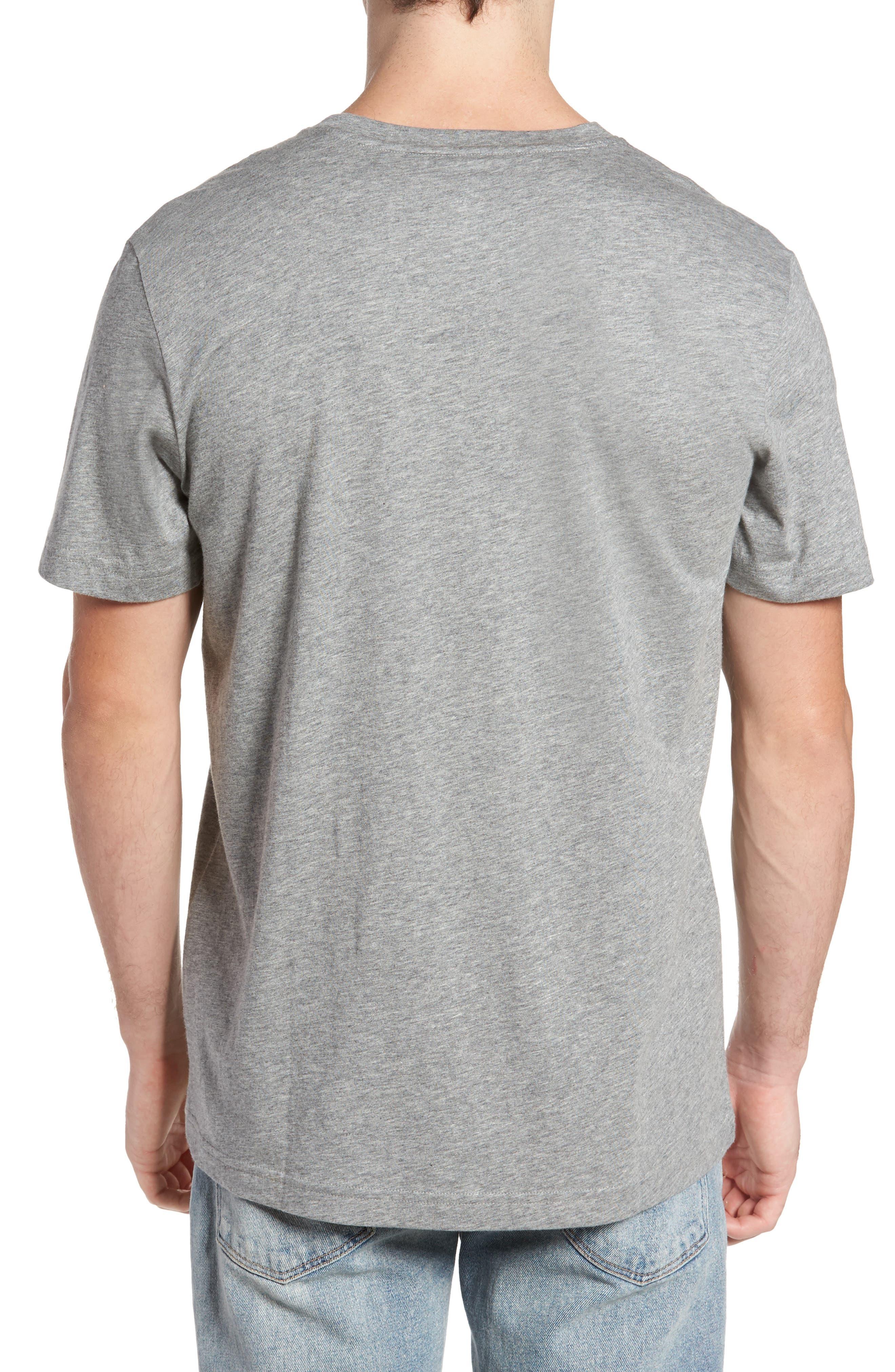 PSYCHO BUNNY, Classic V-Neck T-Shirt, Alternate thumbnail 2, color, HEATHER GREY