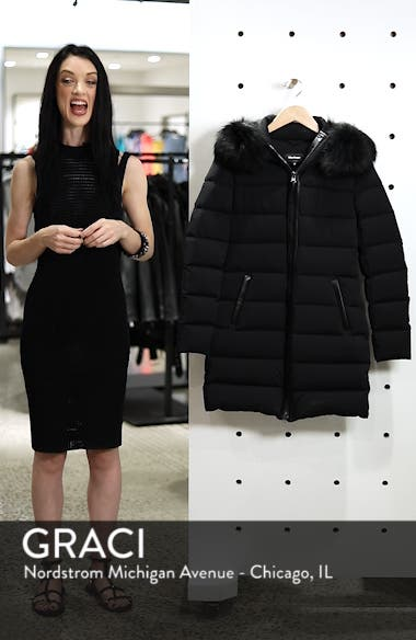 Calla Genuine Fox Fur Trim Hooded Down Coat, sales video thumbnail