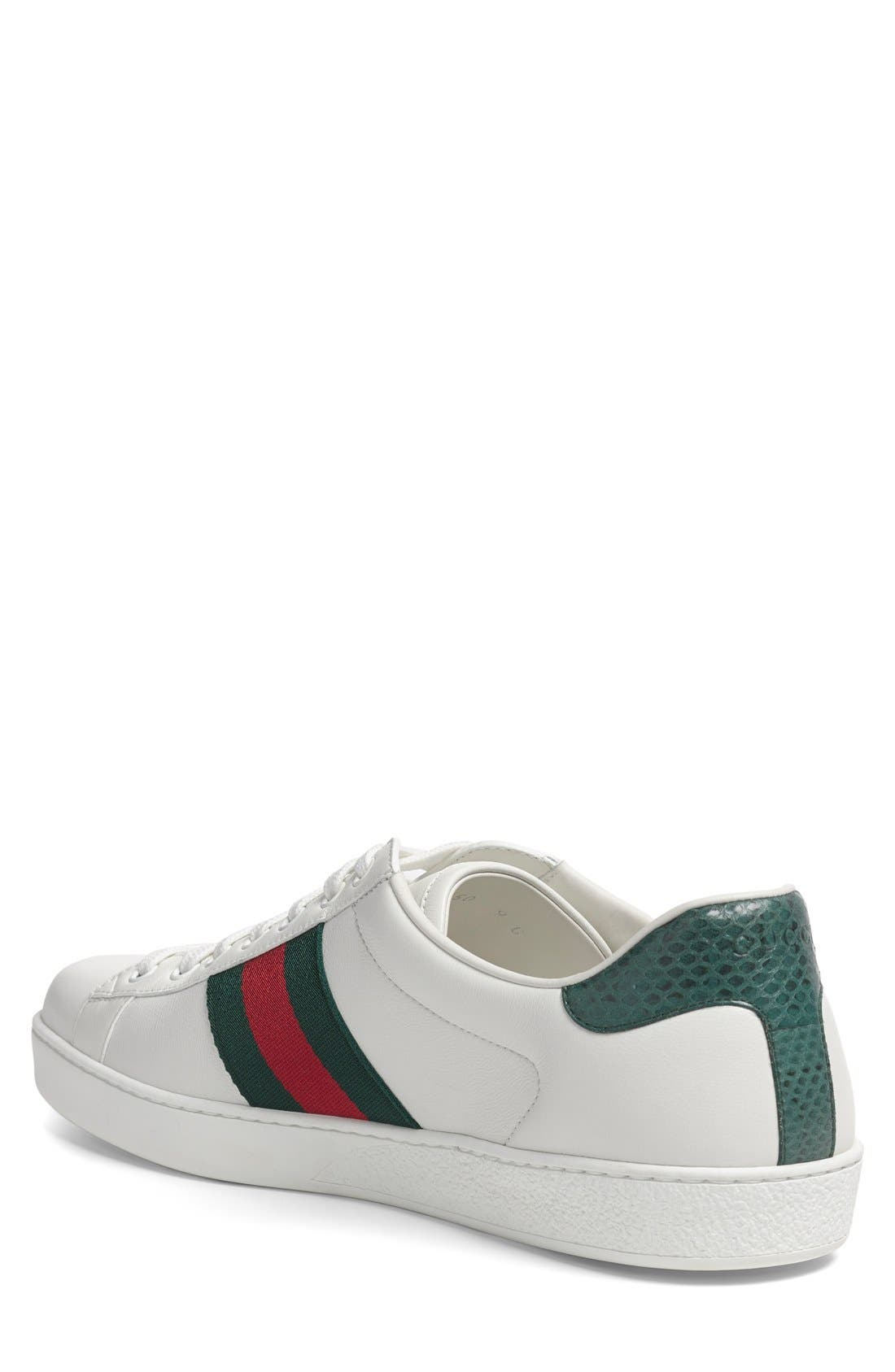 GUCCI, New Ace Sneaker, Alternate thumbnail 2, color, WHITE LEATHER