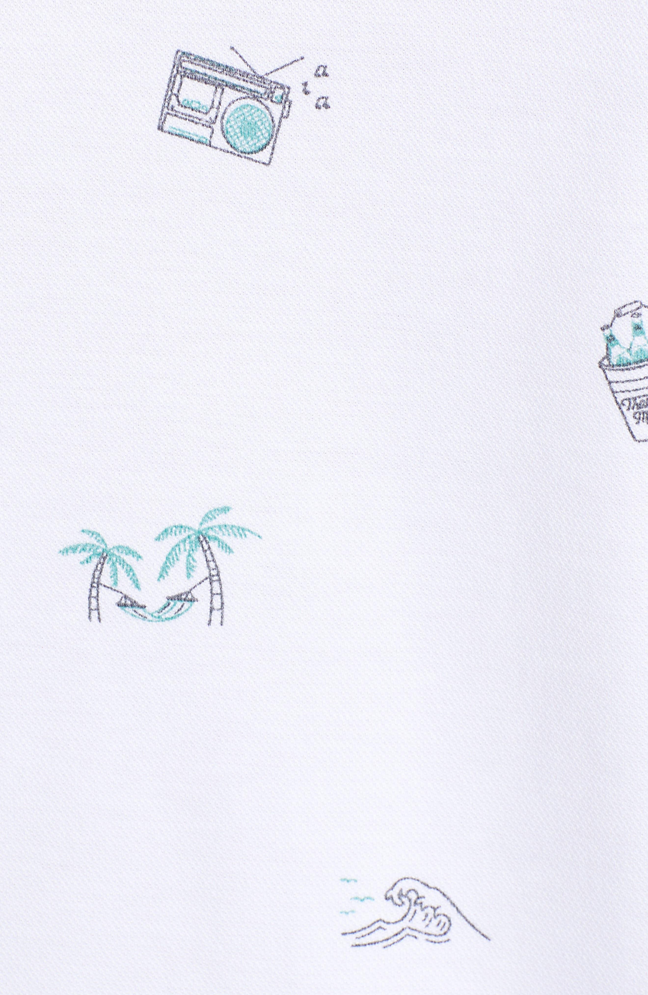 TRAVISMATHEW, Loose Caboose Regular Fit Performance Polo, Alternate thumbnail 5, color, WHITE
