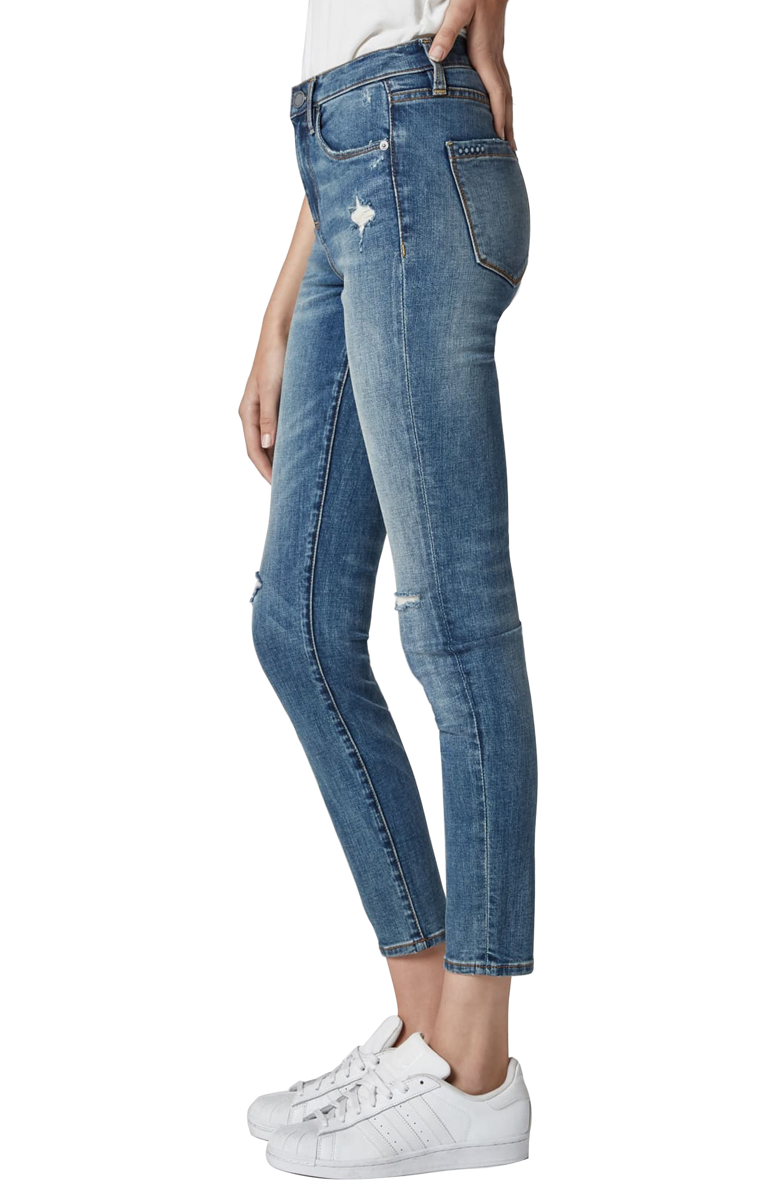 BLANKNYC, The Bond Ripped Skinny Jeans, Alternate thumbnail 3, color, JERSEY GIRLS
