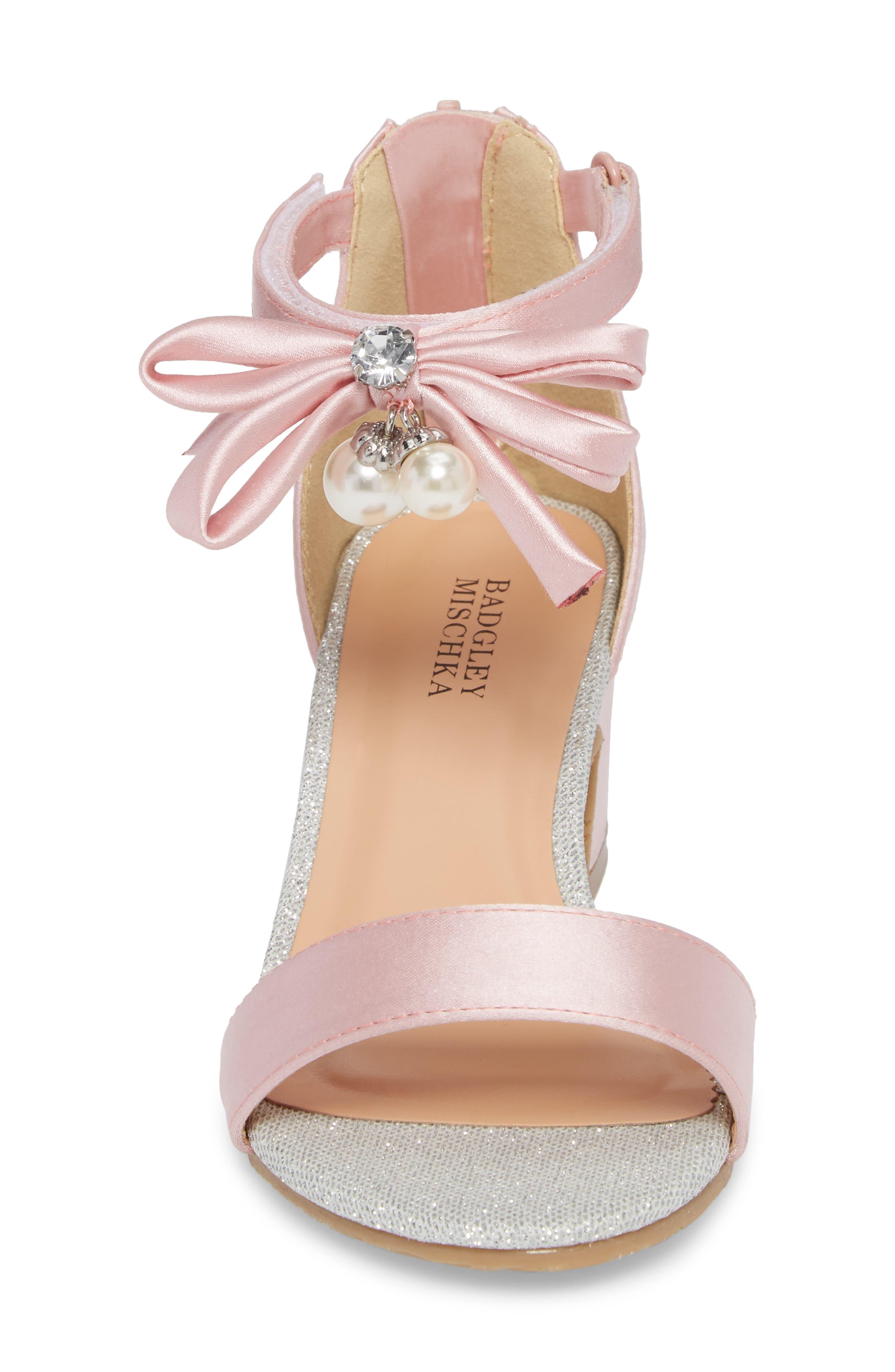 BADGLEY MISCHKA COLLECTION, Badgley Mischka Pernia Embellished Sandal, Alternate thumbnail 4, color, PINK/ SILVER