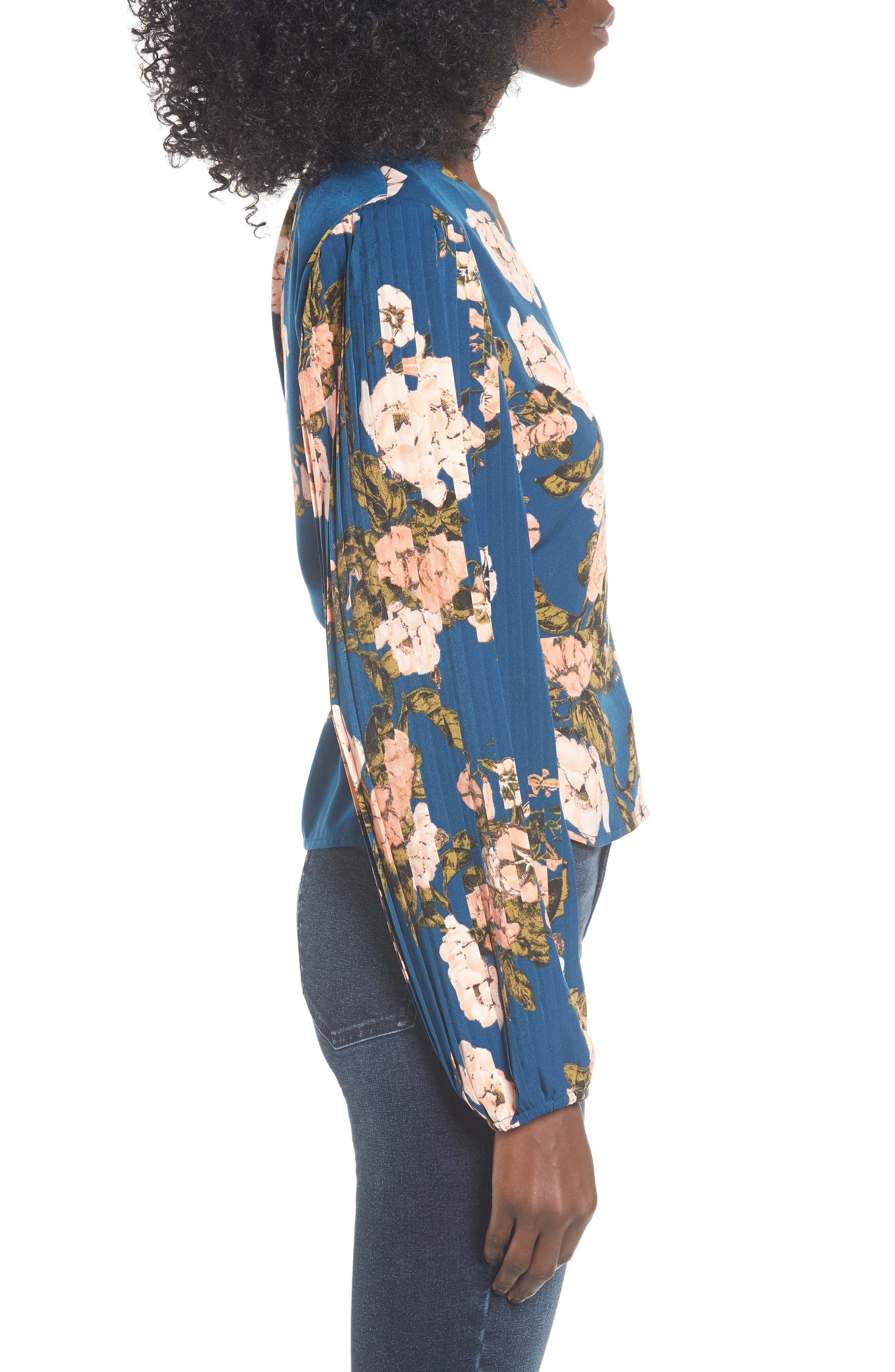 LEITH, Pleated Sleeve Blouse, Alternate thumbnail 3, color, BLUE AURORA TONAL FLORAL