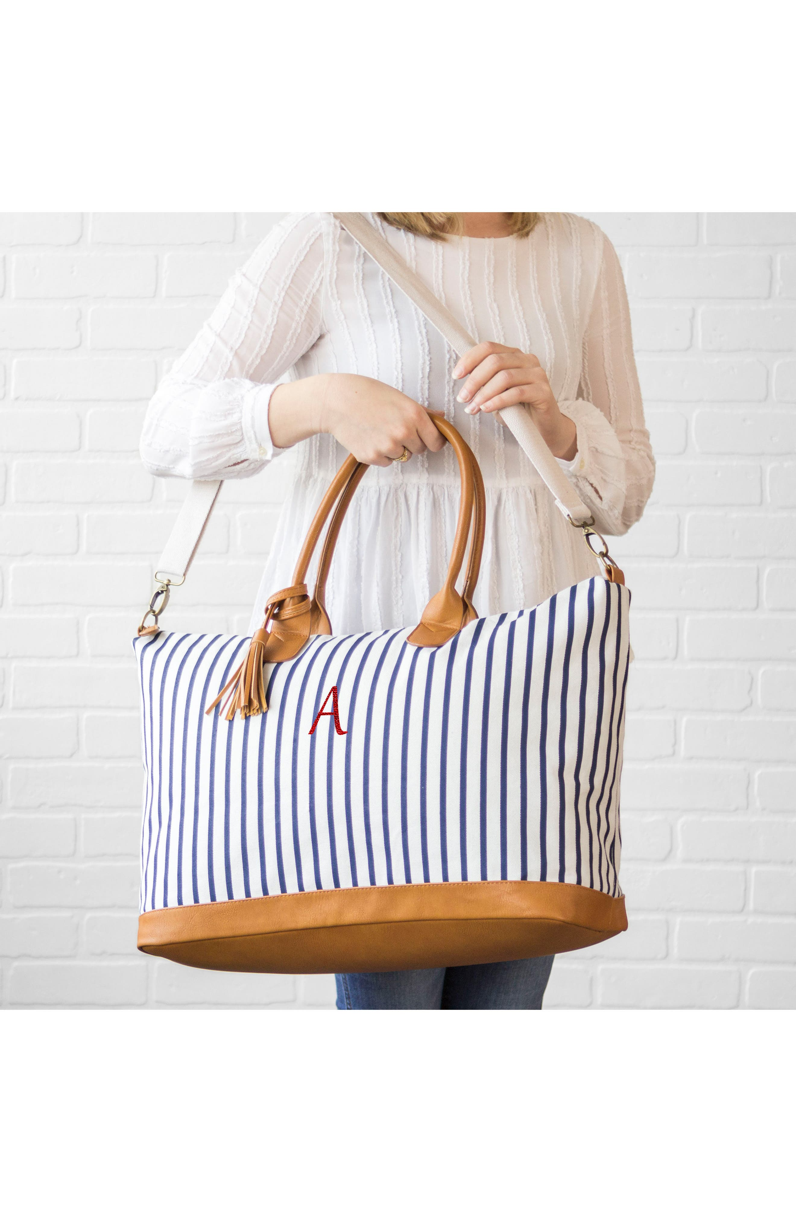 CATHY'S CONCEPTS, Monogram Oversized Tote, Alternate thumbnail 9, color, BLUE