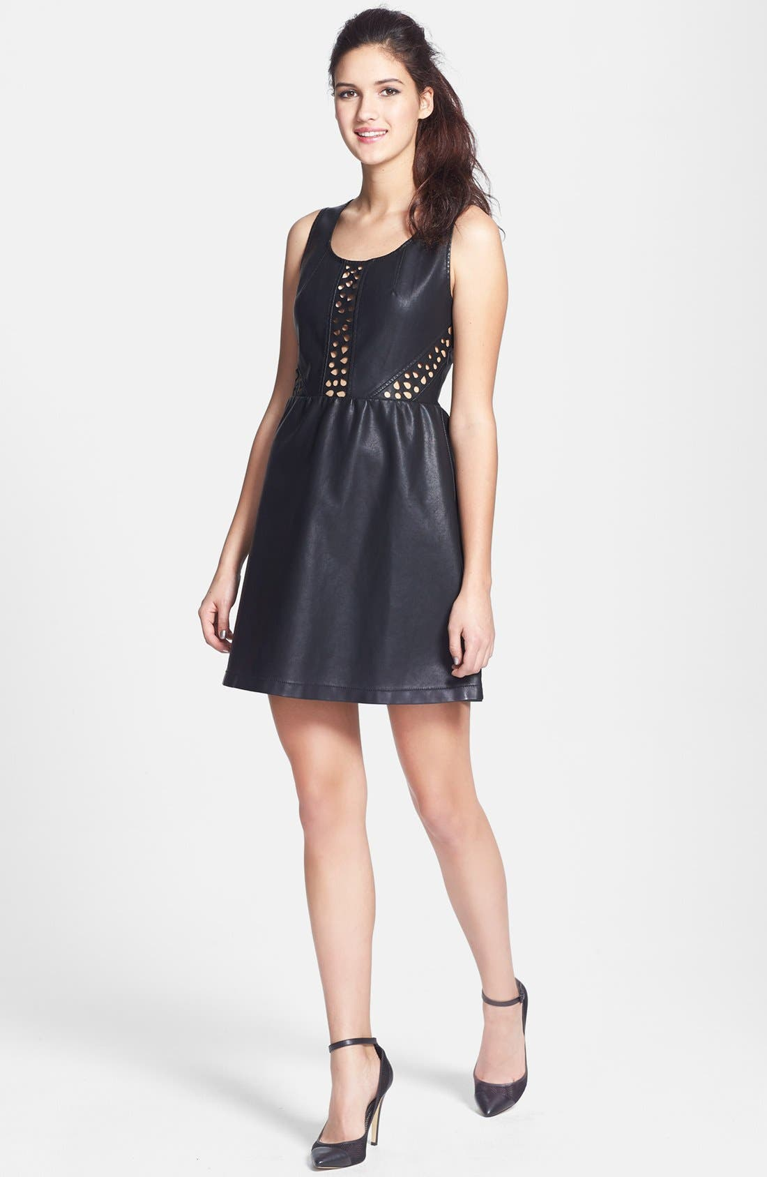 C. LUCE, Laser Cut Faux Leather Skater Dress, Main thumbnail 1, color, 001